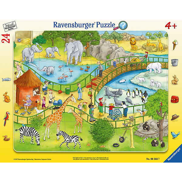 Пазл Весёлый зоопарк 24 штПазлы для малышей<br>Характеристики:<br><br>• тип игрушки: пазл;<br>• комплектация: 24 эл.;<br>• бренд: Ravensburger;<br>• упаковка: картон;<br>• размер: 38х5х30 см;<br>• вес: 323 гр;<br>• возраст: от 3 лет;<br>• материал: картон.<br><br>Пазл «Весёлый зоопарк» 24 шт представляет из себя увлекательную игру для детей от трех лет. Набор состоит из 24 деталей, выполненных из высококачественного картона. <br>Это простой пазл, который рассчитан на младших детишек. На готовой картинке изображена территория зоопарка, где в просторных вольерах под сенью раскидистых деревьев обитают дикие животные. Сборка данного пазла сможет увлечь детей и поспособствовать развитию логического мышления и усидчивости. Собранный пазл можно повесить в рамке как  украшение. Собирание картинок-пазлов очень полезно для детей. Они развивают образное и логическое мышление, наблюдательность и внимательность, а также мелкую моторику и координацию движений рук.<br><br>Пазл «Весёлый зоопарк» 24 шт  можно купить в нашем интернет-магазине.<br>Ширина мм: 380; Глубина мм: 5; Высота мм: 300; Вес г: 323; Возраст от месяцев: -2147483648; Возраст до месяцев: 2147483647; Пол: Унисекс; Возраст: Детский; SKU: 7376809;