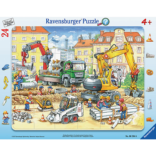 Пазл Строители за работой 24 штПазлы до 24 деталей<br>Характеристики:<br><br>• тип игрушки: пазл;<br>• комплектация: 24 эл.;<br>• бренд: Ravensburger;<br>• упаковка: картон;<br>• размер: 38х5х30 см;<br>• вес: 323 гр;<br>• возраст: от 3 лет;<br>• материал: картон.<br><br>Пазл «Строители за работой» 24 шт представляет из себя увлекательную игру для детей от трех лет. Набор состоит из 24 деталей, выполненных из высококачественного картона. <br>Это простой пазл, который рассчитан на младших детишек. На готовой картинке изображены строители, выполняющие свою работу. Во время сборки можно рассказывать ребенку о разных профессиях.<br><br>Сборка данного пазла сможет увлечь детей и поспособствовать развитию логического мышления и усидчивости. Собранный пазл можно повесить в рамке как  украшение. Собирание картинок-пазлов очень полезно для детей. Они развивают образное и логическое мышление, наблюдательность и внимательность, а также мелкую моторику и координацию движений рук.<br><br>Пазл «Строители за работой» 24 шт  можно купить в нашем интернет-магазине.<br>Ширина мм: 380; Глубина мм: 5; Высота мм: 300; Вес г: 324; Возраст от месяцев: -2147483648; Возраст до месяцев: 2147483647; Пол: Унисекс; Возраст: Детский; SKU: 7376810;