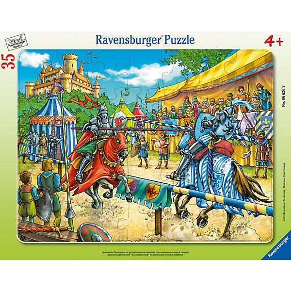 Пазл «Рыцарский турнир» 35 штПазлы до 64 деталей<br>Характеристики:<br><br>• тип игрушки: пазл;<br>• комплектация: 35 эл.;<br>• бренд: Ravensburger;<br>• упаковка: картон;<br>• размер: 38х5х30 см;<br>• вес: 331 гр;<br>• возраст: от 3 лет;<br>• материал: картон.<br><br>Пазл «Рыцарский турнир» 35 шт представляет из себя увлекательную игру для детей от трех лет. Набор состоит из 35 деталей, выполненных из высококачественного картона. <br>Это простой пазл, который рассчитан на младших детишек.  Он позволит ребенку узнать немного о боях и состязаниях, происходивших в далеком прошлом. Пазл состоит из 35 элементов, которые легко собираются в яркую красочную картинку с изображением рыцарей, участвующих в турнире. Элементы изготовлены из качественных материалов, что позволяет многократно собирать и разбирать пазл. <br><br>Сборка данного пазла сможет увлечь детей и поспособствовать развитию логического мышления и усидчивости. Собранный пазл можно повесить в рамке как  украшение. Собирание картинок-пазлов очень полезно для детей. Они развивают образное и логическое мышление, наблюдательность и внимательность, а также мелкую моторику и координацию движений рук.<br><br>Пазл «Рыцарский турнир» 35 шт  можно купить в нашем интернет-магазине.<br>Ширина мм: 380; Глубина мм: 5; Высота мм: 300; Вес г: 331; Возраст от месяцев: -2147483648; Возраст до месяцев: 2147483647; Пол: Унисекс; Возраст: Детский; SKU: 7376811;