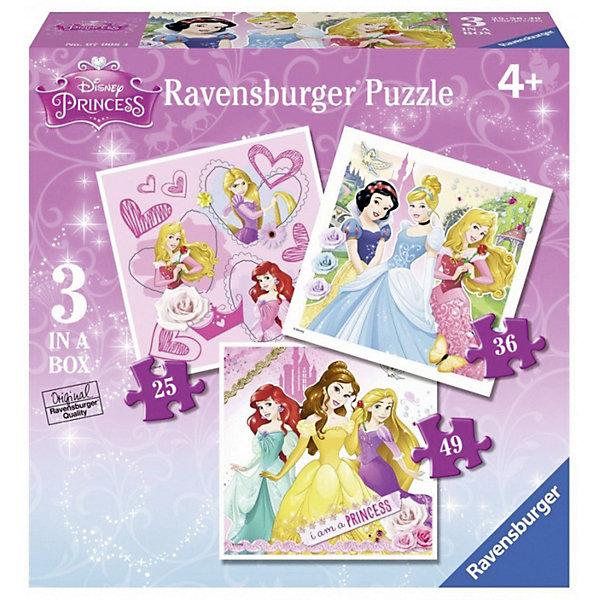 Пазл 3-в-1 «Принцессы » 1х25шт 1х 36шт 1х49шт #Пазлы для малышей<br>Характеристики:<br><br>• тип игрушки: пазл;<br>• комплектация: 109 эл.;<br>• бренд: Ravensburger;<br>• упаковка: картон;<br>• размер: 22,2х6,8х22,2 см;<br>• вес: 414 гр;<br>• возраст: от 3 лет;<br>• материал: картон.<br><br>Пазл 3-в-1 «Принцессы» представляет из себя увлекательную игру для детей от трех лет. Набор состоит из 109 деталей, выполненных из высококачественного картона. <br>Это простой пазл, который рассчитан на младших детишек.  Набор состоит из трех картинок, на каждой из которых изображены принцессы. Элементы изготовлены из качественных материалов, что позволяет многократно собирать и разбирать пазл. <br><br>Сборка данного пазла сможет увлечь детей и поспособствовать развитию логического мышления и усидчивости. Собранный пазл можно повесить в рамке как  украшение. Собирание картинок-пазлов очень полезно для детей. Они развивают образное и логическое мышление, наблюдательность и внимательность, а также мелкую моторику и координацию движений рук.<br><br>Пазл 3-в-1 «Принцессы» можно купить в нашем интернет-магазине.<br><br>Ширина мм: 222<br>Глубина мм: 68<br>Высота мм: 222<br>Вес г: 414<br>Возраст от месяцев: -2147483648<br>Возраст до месяцев: 2147483647<br>Пол: Унисекс<br>Возраст: Детский<br>SKU: 7376813
