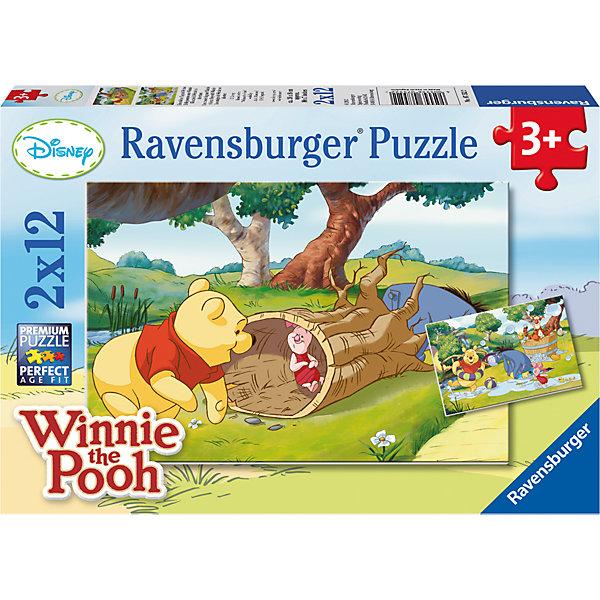 Пазл «Веселый день с Винни-Пухом» 2х12шт #Пазлы до 24 деталей<br>Характеристики:<br><br>• тип игрушки: пазл;<br>• комплектация: 24 эл.;<br>• бренд: Ravensburger;<br>• упаковка: картон;<br>• размер: 28х4х19 см;<br>• вес: 295 гр;<br>• возраст: от 3 лет;<br>• материал: картон.<br><br>Пазл «Веселый день с Винни-Пухом» 2х12шт представляет из себя увлекательную игру для детей от трех лет. Набор состоит из 24 деталей, выполненных из высококачественного картона.  <br>Этот набор состоит из двух красочных пазлов, каждый из которых состоит из двенадцати элементов. Малыш в возрасте от трех лет сможет самостоятельно собрать картинки с забавными сюжетами замечательного диснеевского мультфильма. Детали выполнены из качественного картона, они хорошо стыкуются между собой.<br><br>Сборка данного пазла сможет увлечь детей и поспособствовать развитию логического мышления и усидчивости. Собранный пазл можно повесить в рамке как  украшение. Собирание картинок-пазлов очень полезно для детей. Они развивают образное и логическое мышление, наблюдательность и внимательность, а также мелкую моторику и координацию движений рук.<br><br>Пазл «Веселый день с Винни-Пухом» 2х12шт можно купить в нашем интернет-магазине.<br>Ширина мм: 280; Глубина мм: 40; Высота мм: 190; Вес г: 295; Возраст от месяцев: -2147483648; Возраст до месяцев: 2147483647; Пол: Унисекс; Возраст: Детский; SKU: 7376818;