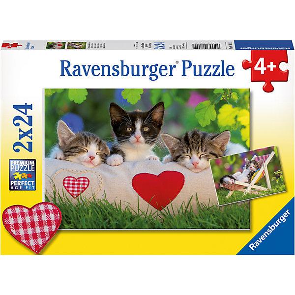 Пазл «Котята отдыхают» 2х24штПазлы до 24 деталей<br>Характеристики:<br><br>• тип игрушки: пазл;<br>• комплектация: 48 эл.;<br>• бренд: Ravensburger;<br>• упаковка: картон;<br>• размер: 28х5х19 см;<br>• вес: 293 гр;<br>• возраст: от 3 лет;<br>• материал: картон.<br><br>Пазл «Котята отдыхают» 2х24шт представляет из себя увлекательную игру для детей от трех лет. Набор состоит из 48 деталей, выполненных из высококачественного картона.  <br>Этот набор состоит из двух красочных пазлов, каждый из которых состоит из двадцати четырех элементов. Из комплекта пазлов можно собрать   две яркие картинки с изображением милых котят.<br><br>Сборка данного пазла сможет увлечь детей и поспособствовать развитию логического мышления и усидчивости. Собранный пазл можно повесить в рамке как  украшение. Собирание картинок-пазлов очень полезно для детей. Они развивают образное и логическое мышление, наблюдательность и внимательность, а также мелкую моторику и координацию движений рук.<br><br>Пазл «Котята отдыхают» 2х24шт можно купить в нашем интернет-магазине.<br><br>Ширина мм: 280<br>Глубина мм: 40<br>Высота мм: 190<br>Вес г: 293<br>Возраст от месяцев: -2147483648<br>Возраст до месяцев: 2147483647<br>Пол: Унисекс<br>Возраст: Детский<br>SKU: 7376823
