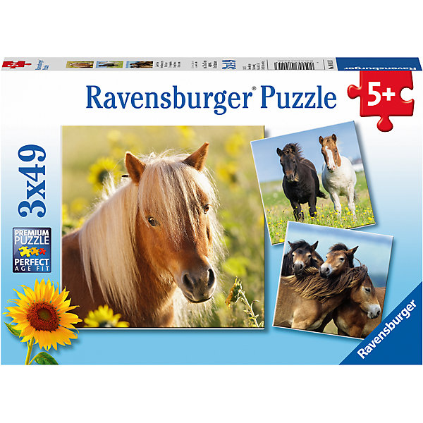 Пазл «Пони» 3х49штПазлы до 64 деталей<br>Характеристики:<br><br>• тип игрушки: пазл;<br>• комплектация: 147 эл.;<br>• бренд: Ravensburger;<br>• упаковка: картон;<br>• размер: 28х5х19 см;<br>• вес: 365 гр;<br>• возраст: от 3 лет;<br>• материал: картон.<br><br>Пазл «Пони» 3х49шт представляет из себя увлекательную игру для детей от трех лет. Набор состоит из 147 деталей, выполненных из высококачественного картона.  <br>Этот набор состоит из трех красочных пазлов, каждый из которых состоит из сорока девяти элементов. Из комплекта пазлов можно собрать три яркие картинки с изображением пони.  Матовая картинка не бликует под источником света, а уникальные выемки пазлов позволяют собрать единую картинку без зазоров.<br><br>Сборка данного пазла сможет увлечь детей и поспособствовать развитию логического мышления и усидчивости. Собранный пазл можно повесить в рамке как  украшение. Собирание картинок-пазлов очень полезно для детей. Они развивают образное и логическое мышление, наблюдательность и внимательность, а также мелкую моторику и координацию движений рук.<br><br>Пазл «Пони» 3х49шт можно купить в нашем интернет-магазине.<br>Ширина мм: 280; Глубина мм: 40; Высота мм: 190; Вес г: 365; Возраст от месяцев: -2147483648; Возраст до месяцев: 2147483647; Пол: Унисекс; Возраст: Детский; SKU: 7376827;