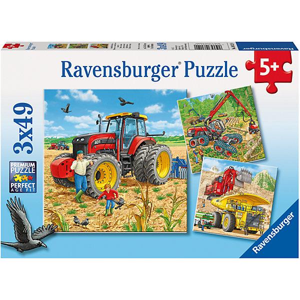 Пазл «Строительная техника» 3х49штПазлы до 64 деталей<br>Характеристики:<br><br>• тип игрушки: пазл;<br>• комплектация: 147 эл.;<br>• бренд: Ravensburger;<br>• упаковка: картон;<br>• размер: 28х5х19 см;<br>• вес: 365 гр;<br>• возраст: от 3 лет;<br>• материал: картон.<br><br>Пазл «Строительная техника» 3х49шт представляет из себя увлекательную игру для детей от трех лет. Набор состоит из 147 деталей, выполненных из высококачественного картона.  <br>Этот набор состоит из трех красочных пазлов, каждый из которых состоит из сорока девяти элементов. Из комплекта пазлов можно собрать три яркие картинки с изображением строительной техники.  Матовая картинка не бликует под источником света, а уникальные выемки пазлов позволяют собрать единую картинку без зазоров.<br><br>Сборка данного пазла сможет увлечь детей и поспособствовать развитию логического мышления и усидчивости. Собранный пазл можно повесить в рамке как  украшение. Собирание картинок-пазлов очень полезно для детей. Они развивают образное и логическое мышление, наблюдательность и внимательность, а также мелкую моторику и координацию движений рук.<br><br>Пазл «Строительная техника» 3х49шт можно купить в нашем интернет-магазине.<br><br>Ширина мм: 280<br>Глубина мм: 40<br>Высота мм: 190<br>Вес г: 365<br>Возраст от месяцев: -2147483648<br>Возраст до месяцев: 2147483647<br>Пол: Унисекс<br>Возраст: Детский<br>SKU: 7376828