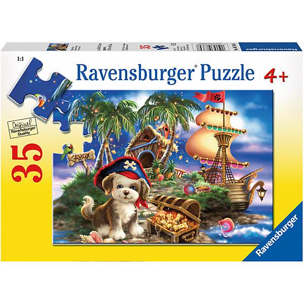 Пазл «Щенок-пират» 35 штСимвол года<br>Характеристики:<br><br>• тип игрушки: пазл;<br>• комплектация: 35 эл.;<br>• бренд: Ravensburger;<br>• упаковка: картон;<br>• размер: 28х5х19 см;<br>• вес: 264 гр;<br>• возраст: от 4 лет;<br>• материал: картон.<br><br>Пазл «Щенок-пират» 35 шт представляет из себя увлекательную игру для детей от четырех лет. Набор состоит из 35 деталей, выполненных из высококачественного картона. Очаровательный лукавый щенок в пиратской шляпе, деревянный корабль с красным развивающимся флагом и затерянный в океане остров с сокровищами предстанут перед ребенком, если он правильно соберет пазл. Получившейся картинкой 26 х 18 см маленькие любители приключений могут украсить свою комнату.<br><br>Пазл сделан из плотного картона, с нанесением яркого красочного рисунка и аккуратной вырубкой деталей с четкими гладкими краями, которые позволяют легко состыковывать элементы пазла между собой. Сборка данного пазла сможет увлечь детей и поспособствовать развитию логического мышления и усидчивости. Собранный пазл можно повесить в рамке как  украшение. Собирание картинок-пазлов очень полезно для детей. Они развивают образное и логическое мышление, наблюдательность и внимательность, а также мелкую моторику и координацию движений рук.<br><br>Пазл «Щенок-пират» 35 шт можно купить в нашем интернет-магазине.<br>Ширина мм: 280; Глубина мм: 40; Высота мм: 190; Вес г: 264; Возраст от месяцев: -2147483648; Возраст до месяцев: 2147483647; Пол: Унисекс; Возраст: Детский; SKU: 7376829;