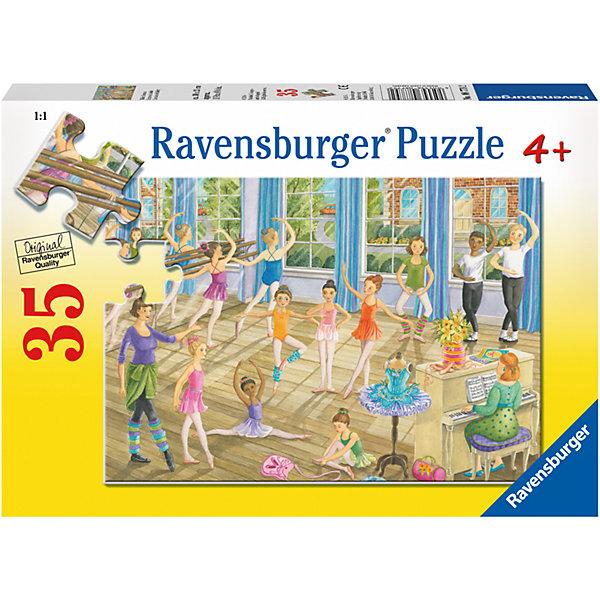 Пазл Урок балета 35 штПазлы до 64 деталей<br>Характеристики:<br><br>• тип игрушки: пазл;<br>• комплектация: 35 эл.;<br>• бренд: Ravensburger;<br>• упаковка: картон;<br>• размер: 27,5х4х19 см;<br>• вес: 282 гр;<br>• возраст: от 4 лет;<br>• материал: картон.<br><br>Пазл «Урок балета» 35 шт представляет из себя увлекательную игру для детей от четырех лет. Набор состоит из 35 деталей, выполненных из высококачественного картона. На готовой картинке изображены дети, учащиеся бальному искусству в просторном осветленном зале. Кто-то репетирует специальные движения, а кто-то занимается растяжками, которые так необходимы для изящного и грациозного танца. Интересный пазл можно собирать одному или пригласить друзей. Получившейся картинкой маленькие любители приключений могут украсить свою комнату.<br><br>Пазл сделан из плотного картона, с нанесением яркого красочного рисунка и аккуратной вырубкой деталей с четкими гладкими краями, которые позволяют легко состыковывать элементы пазла между собой. Сборка данного пазла сможет увлечь детей и поспособствовать развитию логического мышления и усидчивости. Собранный пазл можно повесить в рамке как  украшение. Собирание картинок-пазлов очень полезно для детей. Они развивают образное и логическое мышление, наблюдательность и внимательность, а также мелкую моторику и координацию движений рук.<br><br>Пазл «Урок балета» 35 шт можно купить в нашем интернет-магазине.<br>Ширина мм: 275; Глубина мм: 40; Высота мм: 190; Вес г: 282; Возраст от месяцев: -2147483648; Возраст до месяцев: 2147483647; Пол: Унисекс; Возраст: Детский; SKU: 7376831;