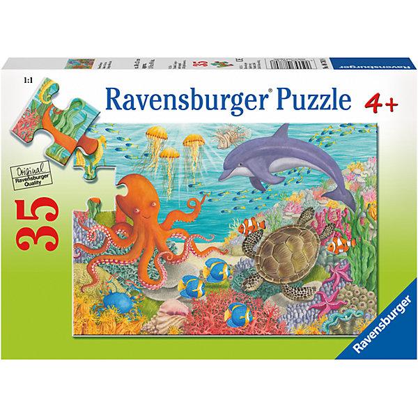 Пазл Океан друзей 35 штПазлы для малышей<br>Характеристики:<br><br>• тип игрушки: пазл;<br>• комплектация: 35 эл.;<br>• бренд: Ravensburger;<br>• упаковка: картон;<br>• размер: 27,5х4х19 см;<br>• вес: 264 гр;<br>• возраст: от 4 лет;<br>• материал: картон.<br><br>Пазл «Океан друзей» 35 шт представляет из себя увлекательную игру для детей от четырех лет. Набор состоит из 35 деталей, выполненных из высококачественного картона. На готовой картинке изображены жители океана. Интересный пазл можно собирать одному или пригласить друзей. Получившейся картинкой маленькие любители приключений могут украсить свою комнату.<br><br>Пазл сделан из плотного картона, с нанесением яркого красочного рисунка и аккуратной вырубкой деталей с четкими гладкими краями, которые позволяют легко состыковывать элементы пазла между собой. Сборка данного пазла сможет увлечь детей и поспособствовать развитию логического мышления и усидчивости. Собранный пазл можно повесить в рамке как  украшение. Собирание картинок-пазлов очень полезно для детей. Они развивают образное и логическое мышление, наблюдательность и внимательность, а также мелкую моторику и координацию движений рук.<br><br>Пазл «Океан друзей» 35 шт можно купить в нашем интернет-магазине.<br>Ширина мм: 275; Глубина мм: 40; Высота мм: 190; Вес г: 264; Возраст от месяцев: -2147483648; Возраст до месяцев: 2147483647; Пол: Унисекс; Возраст: Детский; SKU: 7376832;