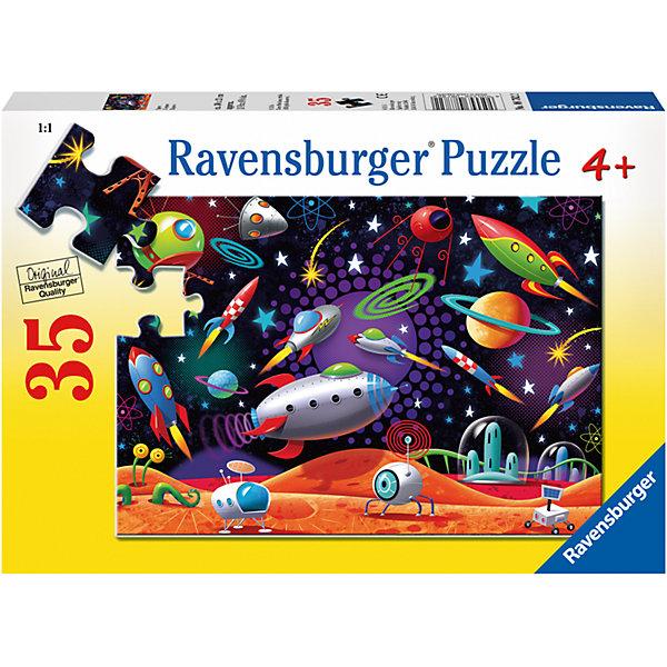 Пазл Космос 35 штПазлы для малышей<br>Характеристики:<br><br>• тип игрушки: пазл;<br>• комплектация: 35 эл.;<br>• бренд: Ravensburger;<br>• упаковка: картон;<br>• размер: 27,5х4х19 см;<br>• вес: 282 гр;<br>• возраст: от 4 лет;<br>• материал: картон.<br><br>Пазл «Космос» 35 шт представляет из себя увлекательную игру для детей от четырех лет. Набор состоит из 35 деталей, выполненных из высококачественного картона. На готовой картинке изображены элементы космоса. Интересный пазл можно собирать одному или пригласить друзей. Получившейся картинкой маленькие любители приключений могут украсить свою комнату.<br><br>Пазл сделан из плотного картона, с нанесением яркого красочного рисунка и аккуратной вырубкой деталей с четкими гладкими краями, которые позволяют легко состыковывать элементы пазла между собой. Сборка данного пазла сможет увлечь детей и поспособствовать развитию логического мышления и усидчивости. Собранный пазл можно повесить в рамке как  украшение. Собирание картинок-пазлов очень полезно для детей. Они развивают образное и логическое мышление, наблюдательность и внимательность, а также мелкую моторику и координацию движений рук.<br><br>Пазл «Космос» 35 шт можно купить в нашем интернет-магазине.<br><br>Ширина мм: 275<br>Глубина мм: 40<br>Высота мм: 190<br>Вес г: 282<br>Возраст от месяцев: -2147483648<br>Возраст до месяцев: 2147483647<br>Пол: Унисекс<br>Возраст: Детский<br>SKU: 7376833