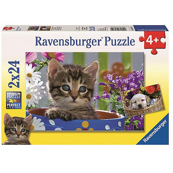 Пазл «Милые друзья»  2х24штПазлы до 24 деталей<br>Характеристики:<br><br>• тип игрушки: пазл;<br>• комплектация: 48 эл.;<br>• бренд: Ravensburger;<br>• упаковка: картон;<br>• размер: 28х4х19 см;<br>• вес: 291 гр;<br>• возраст: от 4 лет;<br>• материал: картон.<br><br>Пазл «Милые друзья» 2х24шт представляет из себя увлекательную игру для детей от четырех лет. Набор состоит из 48 деталей, выполненных из высококачественного картона. В наборе есть две красочные  картинки с изображением щенка и котенка.<br><br>Пазл сделан из плотного картона, с нанесением яркого красочного рисунка и аккуратной вырубкой деталей с четкими гладкими краями, которые позволяют легко состыковывать элементы пазла между собой. Сборка данного пазла сможет увлечь детей и поспособствовать развитию логического мышления и усидчивости.  Они также развивают образное мышление, наблюдательность и внимательность, а также мелкую моторику и координацию движений рук.<br><br>Пазл «Милые друзья» 2х24шт можно купить в нашем интернет-магазине.<br>Ширина мм: 280; Глубина мм: 40; Высота мм: 190; Вес г: 293; Возраст от месяцев: -2147483648; Возраст до месяцев: 2147483647; Пол: Унисекс; Возраст: Детский; SKU: 7376839;