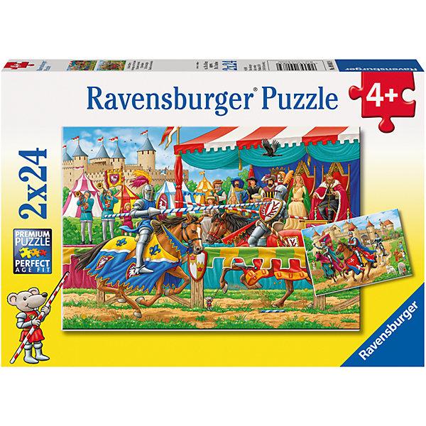 Пазл «Рыцари» 2х24штПазлы для малышей<br>Характеристики:<br><br>• тип игрушки: пазл;<br>• комплектация: 48 эл.;<br>• бренд: Ravensburger;<br>• упаковка: картон;<br>• размер: 28х4х19 см;<br>• вес: 293 гр;<br>• возраст: от 4 лет;<br>• материал: картон.<br><br>Пазл «Рыцари» 2х24шт представляет из себя увлекательную игру для детей от четырех лет. Набор состоит из 48 деталей, выполненных из высококачественного картона. В наборе есть две красочные  картинки с изображением рыцарского боя.<br><br>Пазл сделан из плотного картона, с нанесением яркого красочного рисунка и аккуратной вырубкой деталей с четкими гладкими краями, которые позволяют легко состыковывать элементы пазла между собой. Сборка данного пазла сможет увлечь детей и поспособствовать развитию логического мышления и усидчивости.  Они также развивают образное мышление, наблюдательность и внимательность, а также мелкую моторику и координацию движений рук.<br>Пазл «Рыцари» 2х24шт можно купить в нашем интернет-магазине.<br>Ширина мм: 280; Глубина мм: 40; Высота мм: 190; Вес г: 293; Возраст от месяцев: -2147483648; Возраст до месяцев: 2147483647; Пол: Унисекс; Возраст: Детский; SKU: 7376841;