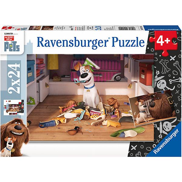 Пазл «Тайная жизнь домашних животных» 2х24шт#Символ года<br>Характеристики:<br><br>• тип игрушки: пазл;<br>• комплектация: 48 эл.;<br>• бренд: Ravensburger;<br>• упаковка: картон;<br>• размер: 28х4х19 см;<br>• вес: 293 гр;<br>• возраст: от 4 лет;<br>• материал: картон.<br><br>Пазл «Тайная жизнь домашних животных» 2х24шт представляет из себя увлекательную игру для детей от четырех лет. Набор состоит из 48 деталей, выполненных из высококачественного картона. В наборе есть две красочные  картинки с изображением балующихся собачек.<br><br>Пазл сделан из плотного картона, с нанесением яркого красочного рисунка и аккуратной вырубкой деталей с четкими гладкими краями, которые позволяют легко состыковывать элементы пазла между собой. Сборка данного пазла сможет увлечь детей и поспособствовать развитию логического мышления и усидчивости.  Они также развивают образное мышление, наблюдательность и внимательность, а также мелкую моторику и координацию движений рук.<br><br>Пазл «Тайная жизнь домашних животных» 2х24шт можно купить в нашем интернет-магазине.<br>Ширина мм: 280; Глубина мм: 40; Высота мм: 190; Вес г: 293; Возраст от месяцев: -2147483648; Возраст до месяцев: 2147483647; Пол: Унисекс; Возраст: Детский; SKU: 7376844;