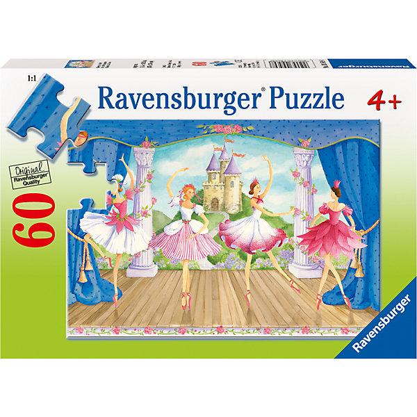 Пазл «Балет» 60 штПазлы до 64 деталей<br>Характеристики:<br><br>• тип игрушки: пазл;<br>• комплектация: 60 эл.;<br>• бренд: Ravensburger;<br>• упаковка: картон;<br>• размер: 28х4х19 см;<br>• вес: 309 гр;<br>• возраст: от 4 лет;<br>• материал: картон.<br><br>Пазл «Обитатели джунглей» 60 шт представляет из себя увлекательную игру для детей от четырех лет. Набор состоит из 60 деталей, выполненных из высококачественного картона. Из красочных элементов предлагается собрать картинку с изображением танцующих балерин. Очаровательные балерины в позах танца выступают на красиво декорированной сцене, даря людям эстетическое наслаждение и радость. <br><br>Пазл сделан из плотного картона, с нанесением яркого красочного рисунка и аккуратной вырубкой деталей с четкими гладкими краями, которые позволяют легко состыковывать элементы пазла между собой. Сборка данного пазла сможет увлечь детей и поспособствовать развитию логического мышления и усидчивости.  Они также развивают образное мышление, наблюдательность и внимательность, а также мелкую моторику и координацию движений рук.<br><br>Пазл «Обитатели джунглей» 60 шт можно купить в нашем интернет-магазине.<br>Ширина мм: 280; Глубина мм: 40; Высота мм: 190; Вес г: 309; Возраст от месяцев: -2147483648; Возраст до месяцев: 2147483647; Пол: Женский; Возраст: Детский; SKU: 7376853;