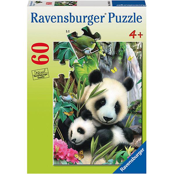 Пазл «Панда и малыш» 60 штПазлы для малышей<br>Характеристики:<br><br>• тип игрушки: пазл;<br>• комплектация: 60 эл.;<br>• бренд: Ravensburger;<br>• упаковка: картон;<br>• размер: 28х4х19 см;<br>• вес: 311 гр;<br>• возраст: от 4 лет;<br>• материал: картон.<br><br>Пазл «Панда и малыш» 60 шт представляет из себя увлекательную игру для детей от четырех лет. Набор состоит из 60 деталей, выполненных из высококачественного картона. Из них предлагается собрать фотографическое изображение панды с детенышем. Животные изображены на фоне густых зарослей и цветущих растений, создавая замечательную, позитивную картину. Панда - это одно из самых редких животных, занесенных в Красную книгу. Примечательно, что панда-мама не расстается со своим малышом первые два года после его рождения, - она носит его на себе.<br><br>Пазл сделан из плотного картона, с нанесением яркого красочного рисунка и аккуратной вырубкой деталей с четкими гладкими краями, которые позволяют легко состыковывать элементы пазла между собой. Сборка данного пазла сможет увлечь детей и поспособствовать развитию логического мышления и усидчивости.  Они также развивают образное мышление, наблюдательность и внимательность, а также мелкую моторику и координацию движений рук.<br><br>Пазл «Панда и малыш» 60 шт можно купить в нашем интернет-магазине.<br>Ширина мм: 280; Глубина мм: 40; Высота мм: 190; Вес г: 311; Возраст от месяцев: -2147483648; Возраст до месяцев: 2147483647; Пол: Унисекс; Возраст: Детский; SKU: 7376855;