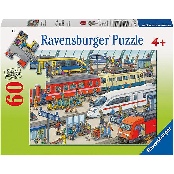 Пазл «Вокзал» 60 штПазлы для малышей<br>Характеристики:<br><br>• тип игрушки: пазл;<br>• комплектация: 60 эл.;<br>• бренд: Ravensburger;<br>• упаковка: картон;<br>• размер: 28х4х19 см;<br>• вес: 311 гр;<br>• возраст: от 4 лет;<br>• материал: картон.<br><br>Пазл «Вокзал» 60 шт представляет из себя увлекательную игру для детей от четырех лет. Набор состоит из 60 деталей, выполненных из высококачественного картона. Из них предлагается собрать станцию вокзала. Рисунок имеет много мелких и особенных деталей, с помощью которых детям будет легко найти недостающие части.<br><br> Пазл сделан из плотного картона, с нанесением яркого красочного рисунка и аккуратной вырубкой деталей с четкими гладкими краями, которые позволяют легко состыковывать элементы пазла между собой. Сборка данного пазла сможет увлечь детей и поспособствовать развитию логического мышления и усидчивости.  Они также развивают образное мышление, наблюдательность и внимательность, а также мелкую моторику и координацию движений рук.<br><br>Пазл «Вокзал» 60 шт можно купить в нашем интернет-магазине.<br><br>Ширина мм: 280<br>Глубина мм: 40<br>Высота мм: 190<br>Вес г: 311<br>Возраст от месяцев: -2147483648<br>Возраст до месяцев: 2147483647<br>Пол: Унисекс<br>Возраст: Детский<br>SKU: 7376856