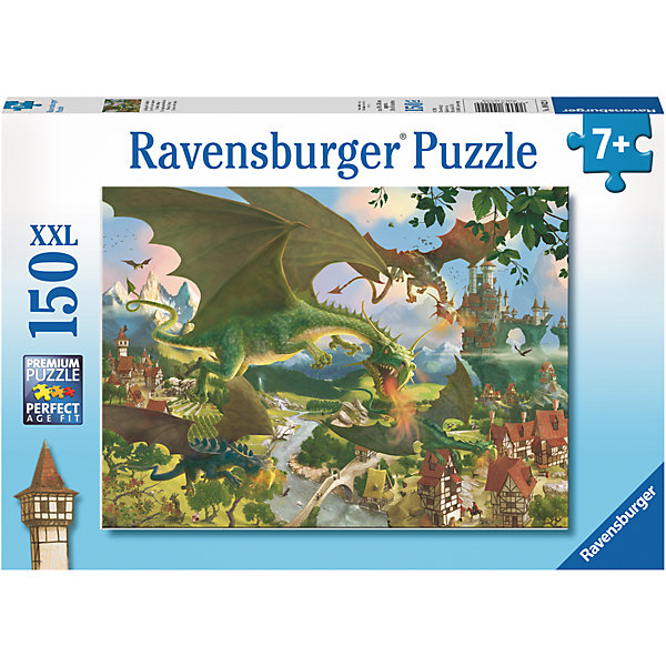 Пазл «Нападение драконов» XXL 150 штПазлы до 200 деталей<br>Характеристики:<br><br>• тип игрушки: пазл;<br>• комплектация: 150 эл.;<br>• бренд: Ravensburger;<br>• упаковка: картон;<br>• размер: 34х4х23 см;<br>• вес: 533 гр;<br>• возраст: от 7 лет;<br>• материал: картон.<br><br>Пазл «Нападение драконов» XXL 150 шт представляет из себя увлекательную игру для детей от семи лет. Набор состоит из 150 деталей, выполненных из высококачественного картона. Из них предлагается собрать изображение сказочной  сцены. Рисунок содержит изображение сказочного города, над которым летают грозные драконы, изрыгающие языки пламени.<br><br>Пазл сделан из плотного картона, с нанесением яркого красочного рисунка и аккуратной вырубкой деталей с четкими гладкими краями, которые позволяют легко состыковывать элементы пазла между собой. Сборка данного пазла сможет увлечь детей и поспособствовать развитию логического мышления и усидчивости.  Они также развивают образное мышление, наблюдательность и внимательность, а также мелкую моторику и координацию движений рук.<br><br>Пазл «Нападение драконов» XXL 150 шт можно купить в нашем интернет-магазине.<br>Ширина мм: 340; Глубина мм: 40; Высота мм: 230; Вес г: 533; Возраст от месяцев: -2147483648; Возраст до месяцев: 2147483647; Пол: Унисекс; Возраст: Детский; SKU: 7376862;