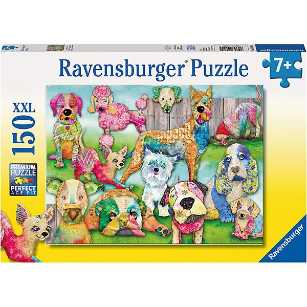 Пазл «Пэчворк  собачки» XXL 150 штСимвол года<br>Характеристики:<br><br>• тип игрушки: пазл;<br>• комплектация: 150 эл.;<br>• бренд: Ravensburger;<br>• упаковка: картон;<br>• размер: 34х4х23 см;<br>• вес: 533 гр;<br>• возраст: от 7 лет;<br>• материал: картон.<br><br>Пазл «Пэчворк  собачки» XXL 150 шт представляет из себя увлекательную игру для детей от семи лет. Набор состоит из 150 деталей, выполненных из высококачественного картона. Из них предлагается собрать изображение различных пород собак в стиле пэчворк, будто сшитых из разноцветных лоскутов ткани.<br><br>.Пазл сделан из плотного картона, с нанесением яркого красочного рисунка и аккуратной вырубкой деталей с четкими гладкими краями, которые позволяют легко состыковывать элементы пазла между собой. Сборка данного пазла сможет увлечь детей и поспособствовать развитию логического мышления и усидчивости.  Они также развивают образное мышление, наблюдательность и внимательность, а также мелкую моторику и координацию движений рук.<br><br>Пазл «Пэчворк  собачки» XXL 150 шт можно купить в нашем интернет-магазине.<br>Ширина мм: 340; Глубина мм: 40; Высота мм: 230; Вес г: 533; Возраст от месяцев: -2147483648; Возраст до месяцев: 2147483647; Пол: Унисекс; Возраст: Детский; SKU: 7376865;
