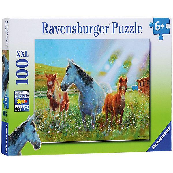 Пазл «Лошади в лучах солнца» XXL 100 штПазлы до 100 деталей<br>Характеристики:<br><br>• тип игрушки: пазл;<br>• комплектация: 100 эл.;<br>• бренд: Ravensburger;<br>• упаковка: картон;<br>• размер: 34х4х23 см;<br>• вес: 567 гр;<br>• возраст: от 6 лет;<br>• материал: картон.<br><br>Пазл «Лошади в лучах солнца» XXL 100 шт представляет из себя увлекательную игру для детей от шести лет. Набор состоит из 100 деталей, выполненных из высококачественного картона. Из них предлагается собрать изображение трех лошадок. Головоломки Ravensburger всегда отличаются высоким качеством полиграфии, изготовлены из экологичного сырья.   Рисунок имеет матовую поверхность без бликов, напечатан на ламинированной бумаге. <br><br>Пазл сделан из плотного картона, с нанесением яркого красочного рисунка и аккуратной вырубкой деталей с четкими гладкими краями, которые позволяют легко состыковывать элементы пазла между собой. Сборка данного пазла сможет увлечь детей и поспособствовать развитию логического мышления и усидчивости.  Они также развивают образное мышление, наблюдательность и внимательность, а также мелкую моторику и координацию движений рук.<br><br>Пазл «Лошади в лучах солнца» XXL 100 шт можно купить в нашем интернет-магазине.<br>Ширина мм: 340; Глубина мм: 40; Высота мм: 230; Вес г: 567; Возраст от месяцев: -2147483648; Возраст до месяцев: 2147483647; Пол: Унисекс; Возраст: Детский; SKU: 7376868;
