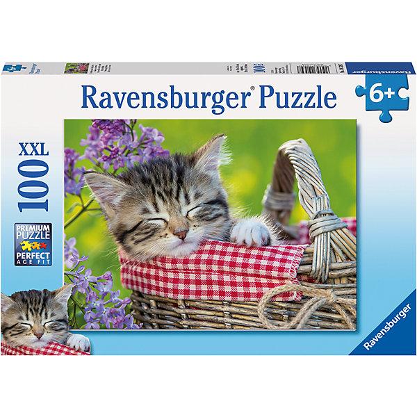 Пазл «Пушистый соня» XXL 100 штПазлы до 100 деталей<br>Характеристики:<br><br>• тип игрушки: пазл;<br>• комплектация: 100 эл.;<br>• бренд: Ravensburger;<br>• упаковка: картон;<br>• размер: 34х4х23 см;<br>• вес: 567 гр;<br>• возраст: от 6 лет;<br>• материал: картон.<br><br>Пазл «Пушистый соня» XXL 100 шт представляет из себя увлекательную игру для детей от шести лет. Набор состоит из 100 деталей, выполненных из высококачественного картона. Из них предлагается собрать изображение спящего котенка в корзинке. Головоломки Ravensburger всегда отличаются высоким качеством полиграфии, изготовлены из экологичного сырья.   Рисунок имеет матовую поверхность без бликов, напечатан на ламинированной бумаге. <br><br>Пазл сделан из плотного картона, с нанесением яркого красочного рисунка и аккуратной вырубкой деталей с четкими гладкими краями, которые позволяют легко состыковывать элементы пазла между собой. Сборка данного пазла сможет увлечь детей и поспособствовать развитию логического мышления и усидчивости.  Они также развивают образное мышление, наблюдательность и внимательность, а также мелкую моторику и координацию движений рук.<br><br>Пазл «Пушистый соня» XXL 100 шт можно купить в нашем интернет-магазине.<br>Ширина мм: 340; Глубина мм: 40; Высота мм: 230; Вес г: 571; Возраст от месяцев: -2147483648; Возраст до месяцев: 2147483647; Пол: Унисекс; Возраст: Детский; SKU: 7376870;