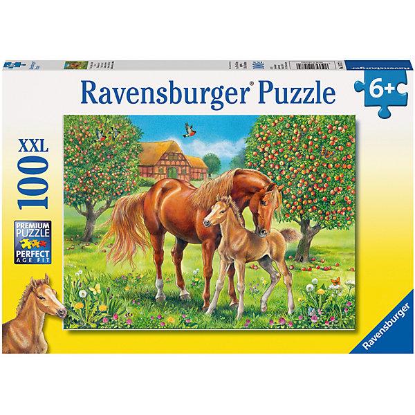 Пазл Лошади в поле XXL 100 штПазлы для малышей<br>Характеристики:<br><br>• тип игрушки: пазл;<br>• комплектация: 100 эл.;<br>• бренд: Ravensburger;<br>• упаковка: картон;<br>• размер: 34х4х23 см;<br>• вес: 571 гр;<br>• возраст: от 6 лет;<br>• материал: картон.<br><br>Пазл «Лошади в поле» XXL 100 шт представляет из себя увлекательную игру для детей от шести лет. Набор состоит из 100 деталей, выполненных из высококачественного картона. Из них предлагается собрать изображение лошадок в поле. Головоломки Ravensburger всегда отличаются высоким качеством полиграфии, изготовлены из экологичного сырья.   Рисунок имеет матовую поверхность без бликов, напечатан на ламинированной бумаге. <br><br>Пазл сделан из плотного картона, с нанесением яркого красочного рисунка и аккуратной вырубкой деталей с четкими гладкими краями, которые позволяют легко состыковывать элементы пазла между собой. Сборка данного пазла сможет увлечь детей и поспособствовать развитию логического мышления и усидчивости.  Они также развивают образное мышление, наблюдательность и внимательность, а также мелкую моторику и координацию движений рук.<br><br>Пазл «Лошади в поле» XXL 100 шт можно купить в нашем интернет-магазине.<br>Ширина мм: 340; Глубина мм: 40; Высота мм: 230; Вес г: 571; Возраст от месяцев: -2147483648; Возраст до месяцев: 2147483647; Пол: Унисекс; Возраст: Детский; SKU: 7376872;