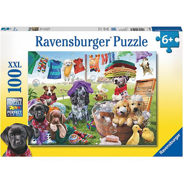 Пазл Красочный день стирки XXL 100 штПазлы для малышей<br>Характеристики:<br><br>• тип игрушки: пазл;<br>• комплектация: 100 эл.;<br>• бренд: Ravensburger;<br>• упаковка: картон;<br>• размер: 34х4х23 см;<br>• вес: 571 гр;<br>• возраст: от 6 лет;<br>• материал: картон.<br><br>Пазл «Красочный день стирки» XXL 100 шт представляет из себя увлекательную игру для детей от шести лет. Набор состоит из 100 деталей, выполненных из высококачественного картона. Из них предлагается собрать изображение яркой картинки с милыми собачками и щенками, которые устроили грандиозную постирушку. На веревках развешано белье, а один белоснежный малыш как-то оказался тоже подвешен в желтом боди на прищепку. Бежевые щенки сидят в тазике с пеной, кругом летают мыльные пузыри, даже два желтых утенка примостились сбоку в ожидании чего-то интересного. <br><br> Головоломки Ravensburger всегда отличаются высоким качеством полиграфии, изготовлены из экологичного сырья.   Рисунок имеет матовую поверхность без бликов, напечатан на ламинированной бумаге. <br>Пазл сделан из плотного картона, с нанесением яркого красочного рисунка и аккуратной вырубкой деталей с четкими гладкими краями, которые позволяют легко состыковывать элементы пазла между собой. Сборка данного пазла сможет увлечь детей и поспособствовать развитию логического мышления и усидчивости.  Они также развивают образное мышление, наблюдательность и внимательность, а также мелкую моторику и координацию движений рук.<br><br>Пазл «Красочный день стирки» XXL 100 шт можно купить в нашем интернет-магазине.<br><br>Ширина мм: 340<br>Глубина мм: 40<br>Высота мм: 230<br>Вес г: 571<br>Возраст от месяцев: -2147483648<br>Возраст до месяцев: 2147483647<br>Пол: Унисекс<br>Возраст: Детский<br>SKU: 7376873