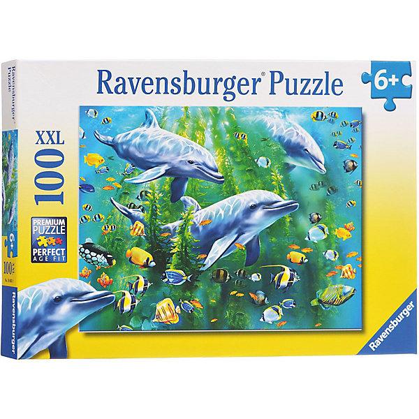 Пазл «Три дельфина» XXL 100 штПазлы для малышей<br>Характеристики:<br><br>• тип игрушки: пазл;<br>• комплектация: 100 эл.;<br>• бренд: Ravensburger;<br>• упаковка: картон;<br>• размер: 34х4х23 см;<br>• вес: 567 гр;<br>• возраст: от 6 лет;<br>• материал: картон.<br><br>Пазл «Три дельфина» XXL 100 шт представляет из себя увлекательную игру для детей от шести лет. Набор состоит из 100 деталей, выполненных из высококачественного картона. Из них предлагается собрать изображение трех дельфинов под водой.  Головоломки Ravensburger всегда отличаются высоким качеством полиграфии, изготовлены из экологичного сырья.   Рисунок имеет матовую поверхность без бликов, напечатан на ламинированной бумаге. <br><br>Пазл сделан из плотного картона, с нанесением яркого красочного рисунка и аккуратной вырубкой деталей с четкими гладкими краями, которые позволяют легко состыковывать элементы пазла между собой. Сборка данного пазла сможет увлечь детей и поспособствовать развитию логического мышления и усидчивости.  Они также развивают образное мышление, наблюдательность и внимательность, а также мелкую моторику и координацию движений рук.<br><br>Пазл «Три дельфина» XXL 100 шт можно купить в нашем интернет-магазине.<br>Ширина мм: 340; Глубина мм: 40; Высота мм: 230; Вес г: 567; Возраст от месяцев: -2147483648; Возраст до месяцев: 2147483647; Пол: Унисекс; Возраст: Детский; SKU: 7376874;