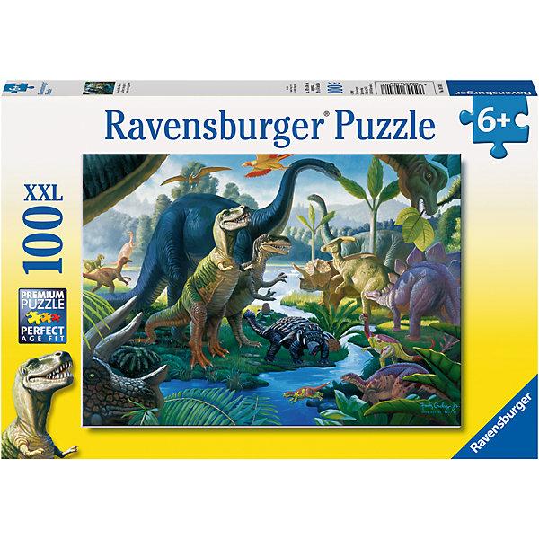 Пазл Динозавры на водопое XXL 100 штПазлы до 100 деталей<br>Характеристики:<br><br>• тип игрушки: пазл;<br>• комплектация: 100 эл.;<br>• бренд: Ravensburger;<br>• упаковка: картон;<br>• размер: 34х4х23 см;<br>• вес: 571 гр;<br>• возраст: от 6 лет;<br>• материал: картон.<br><br>Пазл «Динозавры на водопое» XXL 100 шт представляет из себя увлекательную игру для детей от шести лет. Набор состоит из 100 деталей, выполненных из высококачественного картона. Из них предлагается собрать изображение динозавров, которые пришли на водопой. Головоломки Ravensburger всегда отличаются высоким качеством полиграфии, изготовлены из экологичного сырья.   Рисунок имеет матовую поверхность без бликов, напечатан на ламинированной бумаге. <br><br>Пазл сделан из плотного картона, с нанесением яркого красочного рисунка и аккуратной вырубкой деталей с четкими гладкими краями, которые позволяют легко состыковывать элементы пазла между собой. Сборка данного пазла сможет увлечь детей и поспособствовать развитию логического мышления и усидчивости.  Они также развивают образное мышление, наблюдательность и внимательность, а также мелкую моторику и координацию движений рук.<br><br>Пазл «Динозавры на водопое» XXL 100 шт можно купить в нашем интернет-магазине.<br>Ширина мм: 340; Глубина мм: 40; Высота мм: 230; Вес г: 571; Возраст от месяцев: -2147483648; Возраст до месяцев: 2147483647; Пол: Унисекс; Возраст: Детский; SKU: 7376878;