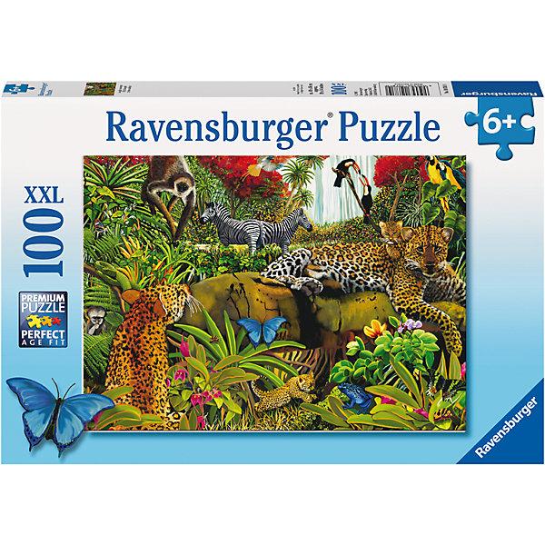 Пазл Хищники и травоядные XXL 100 штПазлы для малышей<br>Характеристики:<br><br>• тип игрушки: пазл;<br>• комплектация: 100 эл.;<br>• бренд: Ravensburger;<br>• упаковка: картон;<br>• размер: 34х4х23 см;<br>• вес: 571 гр;<br>• возраст: от 6 лет;<br>• материал: картон.<br><br>Пазл «Хищники и травоядные» XXL 100 шт представляет из себя увлекательную игру для детей от шести лет. Набор состоит из 100 деталей, выполненных из высококачественного картона. Из них предлагается собрать изображение хищников и разных диких животных. Головоломки Ravensburger всегда отличаются высоким качеством полиграфии, изготовлены из экологичного сырья.   Рисунок имеет матовую поверхность без бликов, напечатан на ламинированной бумаге.<br> <br>Пазл сделан из плотного картона, с нанесением яркого красочного рисунка и аккуратной вырубкой деталей с четкими гладкими краями, которые позволяют легко состыковывать элементы пазла между собой. Сборка данного пазла сможет увлечь детей и поспособствовать развитию логического мышления и усидчивости.  Они также развивают образное мышление, наблюдательность и внимательность, а также мелкую моторику и координацию движений рук.<br><br>Пазл «Хищники и травоядные» XXL 100 шт можно купить в нашем интернет-магазине.<br>Ширина мм: 340; Глубина мм: 40; Высота мм: 230; Вес г: 571; Возраст от месяцев: -2147483648; Возраст до месяцев: 2147483647; Пол: Унисекс; Возраст: Детский; SKU: 7376880;