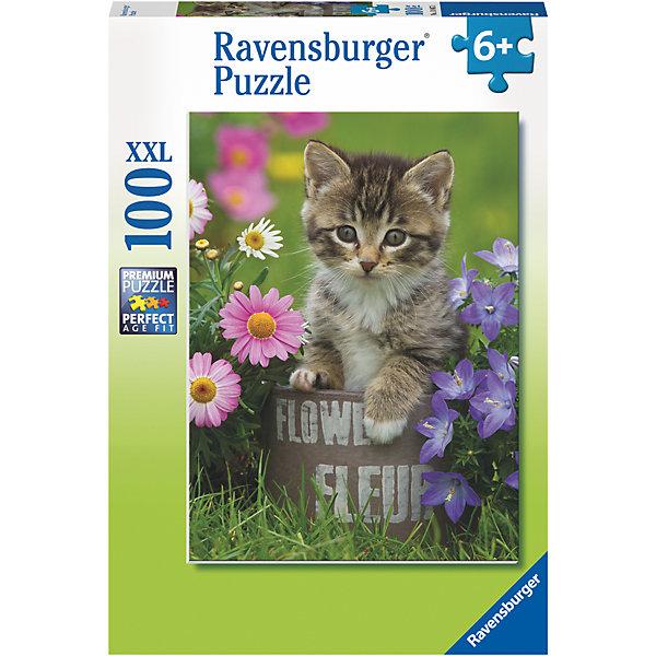 Пазл Котёнок и цветы XXL 100 штПазлы для малышей<br>Характеристики:<br><br>• тип игрушки: пазл;<br>• комплектация: 100 эл.;<br>• бренд: Ravensburger;<br>• упаковка: картон;<br>• размер: 34х4х23 см;<br>• вес: 571 гр;<br>• возраст: от 6 лет;<br>• материал: картон.<br><br>Пазл «Котёнок и цветы» XXL 100 шт представляет из себя увлекательную игру для детей от шести лет. Набор состоит из 100 деталей, выполненных из высококачественного картона. Из них предлагается собрать изображение котенка на лужайке в цветах. Головоломки Ravensburger всегда отличаются высоким качеством полиграфии, изготовлены из экологичного сырья.   Рисунок имеет матовую поверхность без бликов, напечатан на ламинированной бумаге. <br><br>Пазл сделан из плотного картона, с нанесением яркого красочного рисунка и аккуратной вырубкой деталей с четкими гладкими краями, которые позволяют легко состыковывать элементы пазла между собой. Сборка данного пазла сможет увлечь детей и поспособствовать развитию логического мышления и усидчивости.  Они также развивают образное мышление, наблюдательность и внимательность, а также мелкую моторику и координацию движений рук.<br><br>Пазл «Котёнок и цветы» XXL 100 шт можно купить в нашем интернет-магазине.<br>Ширина мм: 340; Глубина мм: 40; Высота мм: 230; Вес г: 571; Возраст от месяцев: -2147483648; Возраст до месяцев: 2147483647; Пол: Унисекс; Возраст: Детский; SKU: 7376881;