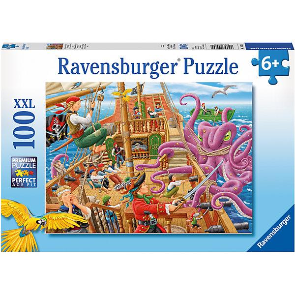 Пазл Битва с осьминогом XXL 100 штПазлы для малышей<br>Характеристики:<br><br>• тип игрушки: пазл;<br>• комплектация: 100 эл.;<br>• бренд: Ravensburger;<br>• упаковка: картон;<br>• размер: 34х4х23 см;<br>• вес: 571 гр;<br>• возраст: от 6 лет;<br>• материал: картон.<br><br>Пазл «Битва с осьминогом» XXL 100 шт представляет из себя увлекательную игру для детей от шести лет. Набор состоит из 100 деталей, выполненных из высококачественного картона. Из них предлагается собрать изображение картинки, взятой из известного и любимого всеми фильма «Пираты Карибского моря», поэтому поклонников данного фильма такой пазл порадует вдвойне. Ребенок с удовольствием будет собирать отважных пиратов и огромного фиолетового осьминога с опасными щупальцами. Головоломки Ravensburger всегда отличаются высоким качеством полиграфии, изготовлены из экологичного сырья.   Рисунок имеет матовую поверхность без бликов, напечатан на ламинированной бумаге. <br><br>Пазл сделан из плотного картона, с нанесением яркого красочного рисунка и аккуратной вырубкой деталей с четкими гладкими краями, которые позволяют легко состыковывать элементы пазла между собой. Сборка данного пазла сможет увлечь детей и поспособствовать развитию логического мышления и усидчивости.  Они также развивают образное мышление, наблюдательность и внимательность, а также мелкую моторику и координацию движений рук.<br><br>Пазл «Битва с осьминогом» XXL 100 шт можно купить в нашем интернет-магазине.<br>Ширина мм: 340; Глубина мм: 40; Высота мм: 230; Вес г: 571; Возраст от месяцев: -2147483648; Возраст до месяцев: 2147483647; Пол: Унисекс; Возраст: Детский; SKU: 7376887;