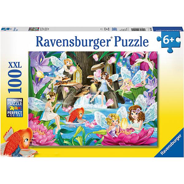 Пазл Сказочные феи XXL 100 штПазлы до 100 деталей<br>Характеристики:<br><br>• тип игрушки: пазл;<br>• комплектация: 100 эл.;<br>• бренд: Ravensburger;<br>• упаковка: картон;<br>• размер: 34х4х23 см;<br>• вес: 571 гр;<br>• возраст: от 6 лет;<br>• материал: картон.<br><br>Пазл «Сказочные феи» XXL 100 шт представляет из себя увлекательную игру для детей от шести лет. Набор состоит из 100 деталей, выполненных из высококачественного картона. Из них предлагается собрать изображение сказочных фей. Головоломки Ravensburger всегда отличаются высоким качеством полиграфии, изготовлены из экологичного сырья.   Рисунок имеет матовую поверхность без бликов, напечатан на ламинированной бумаге. <br><br>Пазл сделан из плотного картона, с нанесением яркого красочного рисунка и аккуратной вырубкой деталей с четкими гладкими краями, которые позволяют легко состыковывать элементы пазла между собой. Сборка данного пазла сможет увлечь детей и поспособствовать развитию логического мышления и усидчивости.  Они также развивают образное мышление, наблюдательность и внимательность, а также мелкую моторику и координацию движений рук.<br><br>Пазл «Сказочные феи» XXL 100 шт можно купить в нашем интернет-магазине.<br>Ширина мм: 340; Глубина мм: 40; Высота мм: 230; Вес г: 567; Возраст от месяцев: -2147483648; Возраст до месяцев: 2147483647; Пол: Женский; Возраст: Детский; SKU: 7376888;