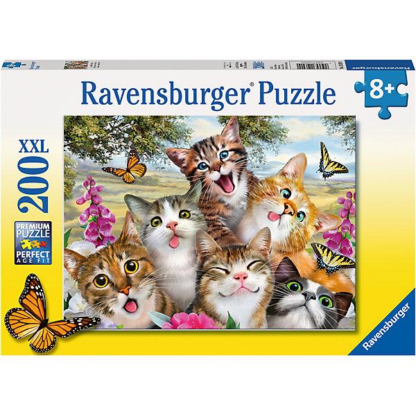 Пазл «Приветливые коты» XXL100 штМягкие пазлы<br>Характеристики:<br><br>• тип игрушки: пазл;<br>• комплектация: 100 эл.;<br>• бренд: Ravensburger;<br>• упаковка: картон;<br>• размер: 34х4х23 см;<br>• вес: 575 гр;<br>• возраст: от 6 лет;<br>• материал: картон.<br><br>Пазл «Приветливые коты» XXL 100 шт представляет из себя увлекательную игру для детей от шести лет. Набор состоит из 100 деталей, выполненных из высококачественного картона. Из них предлагается собрать изображение веселых котят. Головоломки Ravensburger всегда отличаются высоким качеством полиграфии, изготовлены из экологичного сырья.   Рисунок имеет матовую поверхность без бликов, напечатан на ламинированной бумаге. <br><br>Пазл сделан из плотного картона, с нанесением яркого красочного рисунка и аккуратной вырубкой деталей с четкими гладкими краями, которые позволяют легко состыковывать элементы пазла между собой. Сборка данного пазла сможет увлечь детей и поспособствовать развитию логического мышления и усидчивости.  Они также развивают образное мышление, наблюдательность и внимательность, а также мелкую моторику и координацию движений рук.<br><br>Пазл «Приветливые коты» XXL 100 шт можно купить в нашем интернет-магазине.<br>Ширина мм: 340; Глубина мм: 40; Высота мм: 230; Вес г: 575; Возраст от месяцев: -2147483648; Возраст до месяцев: 2147483647; Пол: Унисекс; Возраст: Детский; SKU: 7376891;