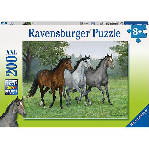 Пазл «Тройка» XXL100 штМягкие пазлы<br>Характеристики:<br><br>• тип игрушки: пазл;<br>• комплектация: 100 эл.;<br>• бренд: Ravensburger;<br>• упаковка: картон;<br>• размер: 34х4х23 см;<br>• вес: 575 гр;<br>• возраст: от 6 лет;<br>• материал: картон.<br><br>Пазл «Тройка» XXL 100 шт представляет из себя увлекательную игру для детей от шести лет. Набор состоит из 100 деталей, выполненных из высококачественного картона. Из них предлагается собрать изображение тройки лошадей. Головоломки Ravensburger всегда отличаются высоким качеством полиграфии, изготовлены из экологичного сырья.   Рисунок имеет матовую поверхность без бликов, напечатан на ламинированной бумаге. <br><br>Пазл сделан из плотного картона, с нанесением яркого красочного рисунка и аккуратной вырубкой деталей с четкими гладкими краями, которые позволяют легко состыковывать элементы пазла между собой. Сборка данного пазла сможет увлечь детей и поспособствовать развитию логического мышления и усидчивости.  Они также развивают образное мышление, наблюдательность и внимательность, а также мелкую моторику и координацию движений рук.<br><br>Пазл «Тройка» XXL 100 шт можно купить в нашем интернет-магазине.<br>Ширина мм: 340; Глубина мм: 40; Высота мм: 230; Вес г: 575; Возраст от месяцев: -2147483648; Возраст до месяцев: 2147483647; Пол: Унисекс; Возраст: Детский; SKU: 7376893;