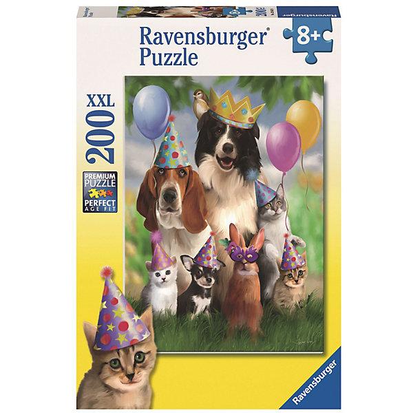 Пазл «Король вечеринки» XXL 200 штПазлы классические<br>Характеристики:<br><br>• тип игрушки: пазл;<br>• комплектация: 100 эл.;<br>• бренд: Ravensburger;<br>• упаковка: картон;<br>• размер: 34х4х23 см;<br>• вес: 571 гр;<br>• возраст: от 6 лет;<br>• материал: картон.<br><br>Пазл «Король вечеринки» XXL 100 шт представляет из себя увлекательную игру для детей от шести лет. Набор состоит из 100 деталей, выполненных из высококачественного картона. Из них предлагается собрать изображение трех собак, трех котов и кролика. Головоломки Ravensburger всегда отличаются высоким качеством полиграфии, изготовлены из экологичного сырья.   Рисунок имеет матовую поверхность без бликов, напечатан на ламинированной бумаге. <br><br>Пазл сделан из плотного картона, с нанесением яркого красочного рисунка и аккуратной вырубкой деталей с четкими гладкими краями, которые позволяют легко состыковывать элементы пазла между собой. Сборка данного пазла сможет увлечь детей и поспособствовать развитию логического мышления и усидчивости.  Они также развивают образное мышление, наблюдательность и внимательность, а также мелкую моторику и координацию движений рук.<br><br>Пазл «Король вечеринки» XXL 100 шт можно купить в нашем интернет-магазине.<br><br>Ширина мм: 230<br>Глубина мм: 40<br>Высота мм: 340<br>Вес г: 571<br>Возраст от месяцев: -2147483648<br>Возраст до месяцев: 2147483647<br>Пол: Унисекс<br>Возраст: Детский<br>SKU: 7376894