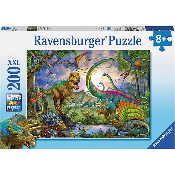 Пазл «Мир динозавров» XXL100 штПазлы для малышей<br>Характеристики:<br><br>• тип игрушки: пазл;<br>• комплектация: 100 эл.;<br>• бренд: Ravensburger;<br>• упаковка: картон;<br>• размер: 34х4х23 см;<br>• вес: 575 гр;<br>• возраст: от 6 лет;<br>• материал: картон.<br><br>Пазл «Мир динозавров» XXL 100 шт представляет из себя увлекательную игру для детей от шести лет. Набор состоит из 100 деталей, выполненных из высококачественного картона. Из них предлагается собрать изображение чудесного мира динозавров. Головоломки Ravensburger всегда отличаются высоким качеством полиграфии, изготовлены из экологичного сырья.   Рисунок имеет матовую поверхность без бликов, напечатан на ламинированной бумаге. <br><br>Пазл сделан из плотного картона, с нанесением яркого красочного рисунка и аккуратной вырубкой деталей с четкими гладкими краями, которые позволяют легко состыковывать элементы пазла между собой. Сборка данного пазла сможет увлечь детей и поспособствовать развитию логического мышления и усидчивости.  Они также развивают образное мышление, наблюдательность и внимательность, а также мелкую моторику и координацию движений рук.<br><br>Пазл «Мир динозавров» XXL 100 шт можно купить в нашем интернет-магазине.<br><br>Ширина мм: 340<br>Глубина мм: 40<br>Высота мм: 230<br>Вес г: 575<br>Возраст от месяцев: -2147483648<br>Возраст до месяцев: 2147483647<br>Пол: Унисекс<br>Возраст: Детский<br>SKU: 7376897