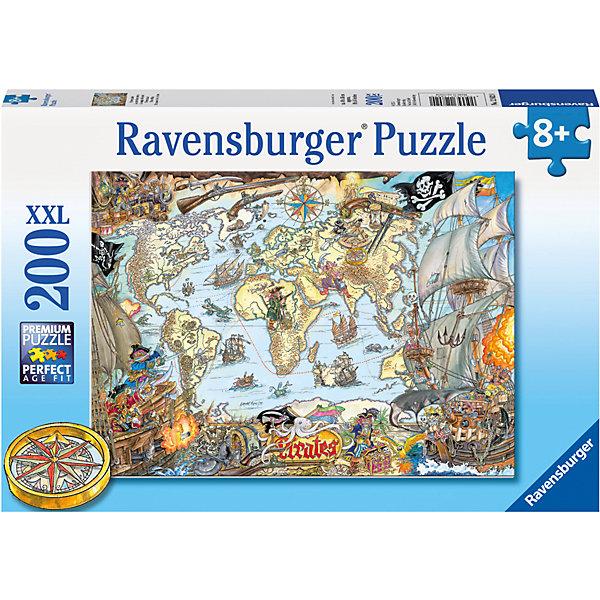 Пазл «Пиратская карта» XXL 200 штПазлы до 200 деталей<br>Характеристики:<br><br>• тип игрушки: пазл;<br>• комплектация: 200 эл.;<br>• бренд: Ravensburger;<br>• упаковка: картон;<br>• размер: 34х4х23 см;<br>• вес: 579 гр;<br>• возраст: от 6 лет;<br>• материал: картон.<br><br>Пазл «Пиратская карта» XXL 200 шт представляет из себя увлекательную игру для детей от шести лет. Набор состоит из 200 деталей, выполненных из высококачественного картона. Из них предлагается собрать изображение пиратской карты. Головоломки Ravensburger всегда отличаются высоким качеством полиграфии, изготовлены из экологичного сырья.   Рисунок имеет матовую поверхность без бликов, напечатан на ламинированной бумаге. <br><br>Пазл сделан из плотного картона, с нанесением яркого красочного рисунка и аккуратной вырубкой деталей с четкими гладкими краями, которые позволяют легко состыковывать элементы пазла между собой. Сборка данного пазла сможет увлечь детей и поспособствовать развитию логического мышления и усидчивости.  Они также развивают образное мышление, наблюдательность и внимательность, а также мелкую моторику и координацию движений рук.<br><br>Пазл «Пиратская карта» XXL 200 шт можно купить в нашем интернет-магазине.<br><br>Ширина мм: 340<br>Глубина мм: 40<br>Высота мм: 230<br>Вес г: 579<br>Возраст от месяцев: -2147483648<br>Возраст до месяцев: 2147483647<br>Пол: Унисекс<br>Возраст: Детский<br>SKU: 7376903