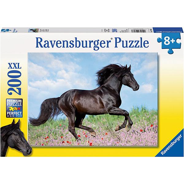Пазл «Прекрасная лошадь» XXL 200 штПазлы до 200 деталей<br>Характеристики:<br><br>• тип игрушки: пазл;<br>• комплектация: 200 эл.;<br>• бренд: Ravensburger;<br>• упаковка: картон;<br>• размер: 34х4х23 см;<br>• вес: 579 гр;<br>• возраст: от 6 лет;<br>• материал: картон.<br><br>Пазл «Прекрасная лошадь» XXL 200 шт представляет из себя увлекательную игру для детей от шести лет. Набор состоит из 200 деталей, выполненных из высококачественного картона. Из них предлагается собрать изображение красивой лошади. Головоломки Ravensburger всегда отличаются высоким качеством полиграфии, изготовлены из экологичного сырья.   Рисунок имеет матовую поверхность без бликов, напечатан на ламинированной бумаге. <br><br>Пазл сделан из плотного картона, с нанесением яркого красочного рисунка и аккуратной вырубкой деталей с четкими гладкими краями, которые позволяют легко состыковывать элементы пазла между собой. Сборка данного пазла сможет увлечь детей и поспособствовать развитию логического мышления и усидчивости.  Они также развивают образное мышление, наблюдательность и внимательность, а также мелкую моторику и координацию движений рук.<br><br>Пазл «Прекрасная лошадь» XXL 200 шт можно купить в нашем интернет-магазине.<br>Ширина мм: 340; Глубина мм: 40; Высота мм: 230; Вес г: 575; Возраст от месяцев: -2147483648; Возраст до месяцев: 2147483647; Пол: Унисекс; Возраст: Детский; SKU: 7376904;