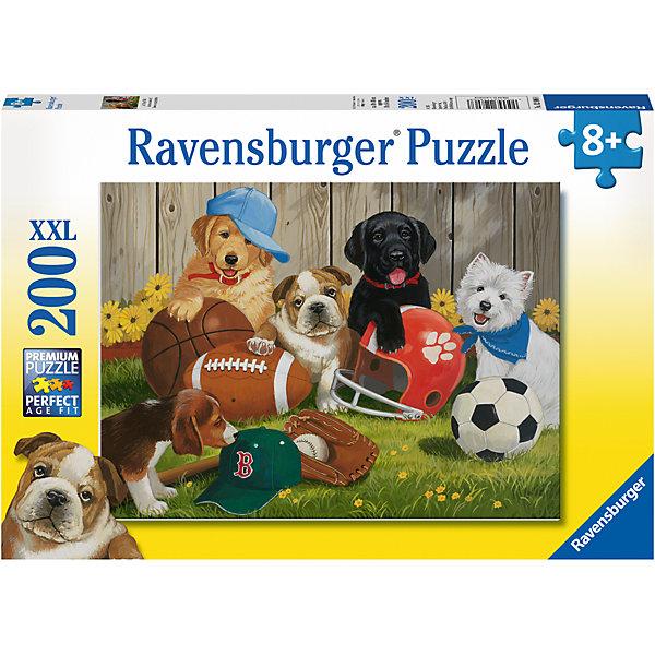 Пазл «Пушистые спортсмены» XXL1=200 штСимвол года<br>Характеристики:<br><br>• тип игрушки: пазл;<br>• комплектация: 200 эл.;<br>• бренд: Ravensburger;<br>• упаковка: картон;<br>• размер: 34х4х23 см;<br>• вес: 575 гр;<br>• возраст: от 6 лет;<br>• материал: картон.<br><br>Пазл «Пушистые спортсмены» XXL 200 шт представляет из себя увлекательную игру для детей от шести лет. Набор состоит из 200 деталей, выполненных из высококачественного картона. Из них предлагается собрать изображение щенков-спортсменов. Головоломки Ravensburger всегда отличаются высоким качеством полиграфии, изготовлены из экологичного сырья.   Рисунок имеет матовую поверхность без бликов, напечатан на ламинированной бумаге. <br><br>Пазл сделан из плотного картона, с нанесением яркого красочного рисунка и аккуратной вырубкой деталей с четкими гладкими краями, которые позволяют легко состыковывать элементы пазла между собой. Сборка данного пазла сможет увлечь детей и поспособствовать развитию логического мышления и усидчивости.  Они также развивают образное мышление, наблюдательность и внимательность, а также мелкую моторику и координацию движений рук.<br><br>Пазл «Пушистые спортсмены» XXL 200 шт можно купить в нашем интернет-магазине.<br>Ширина мм: 340; Глубина мм: 40; Высота мм: 230; Вес г: 575; Возраст от месяцев: -2147483648; Возраст до месяцев: 2147483647; Пол: Унисекс; Возраст: Детский; SKU: 7376905;