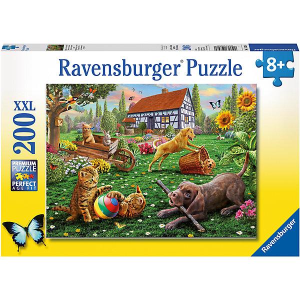 Пазл Веселье во дворе XXL 200 штПазлы классические<br>Характеристики:<br><br>• тип игрушки: пазл;<br>• комплектация: 200 эл.;<br>• бренд: Ravensburger;<br>• упаковка: картон;<br>• размер: 34х4х23 см;<br>• вес: 575 гр;<br>• возраст: от 6 лет;<br>• материал: картон.<br><br>Пазл «Веселье во дворе» XXL 200 шт представляет из себя увлекательную игру для детей от шести лет. Набор состоит из 200 деталей, выполненных из высококачественного картона. Из них предлагается собрать изображение зеленого двора с озорными домашними животными. Головоломки Ravensburger всегда отличаются высоким качеством полиграфии, изготовлены из экологичного сырья.   Рисунок имеет матовую поверхность без бликов, напечатан на ламинированной бумаге. <br><br>Пазл сделан из плотного картона, с нанесением яркого красочного рисунка и аккуратной вырубкой деталей с четкими гладкими краями, которые позволяют легко состыковывать элементы пазла между собой. Сборка данного пазла сможет увлечь детей и поспособствовать развитию логического мышления и усидчивости.  Они также развивают образное мышление, наблюдательность и внимательность, а также мелкую моторику и координацию движений рук.<br><br>Пазл «Веселье во дворе» XXL 200 шт можно купить в нашем интернет-магазине.<br>Ширина мм: 340; Глубина мм: 40; Высота мм: 230; Вес г: 575; Возраст от месяцев: -2147483648; Возраст до месяцев: 2147483647; Пол: Унисекс; Возраст: Детский; SKU: 7376909;