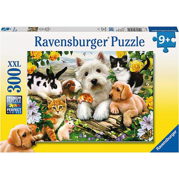 Пазл «Дружная компания» XXL 300 штСимвол года<br>Характеристики:<br><br>• тип игрушки: пазл;<br>• комплектация: 300 эл;<br>• размер картинки: 49х36 см;<br>• бренд: Ravensburger;<br>• упаковка: картон;<br>• размер: 34х4х23 см;<br>• вес: 548 гр;<br>• возраст: от 6 лет;<br>• материал: картон.<br><br>Пазл «Дружная компания» XXL 300 шт представляет из себя увлекательную игру для детей от шести лет. Набор состоит из 300 деталей, выполненных из высококачественного картона. Из них предлагается собрать изображение домашних питомцев, среди которых щенок, котенок, морская свинка, зайчик, хомячок и мышка. Головоломки Ravensburger всегда отличаются высоким качеством полиграфии, изготовлены из экологичного сырья. Рисунок имеет матовую поверхность без бликов, напечатан на ламинированной бумаге. <br><br>Пазл сделан из плотного картона, с нанесением красочного рисунка и аккуратной вырубкой деталей с четкими гладкими краями, которые позволяют легко состыковывать элементы пазла между собой. Сборка данного пазла сможет увлечь детей и поспособствовать развитию логического мышления и усидчивости.  Они также развивают образное мышление, наблюдательность и внимательность, а также мелкую моторику и координацию движений рук.<br><br>Пазл «Дружная компания» XXL 300 шт можно купить в нашем интернет-магазине.<br><br>Ширина мм: 340<br>Глубина мм: 40<br>Высота мм: 230<br>Вес г: 548<br>Возраст от месяцев: -2147483648<br>Возраст до месяцев: 2147483647<br>Пол: Унисекс<br>Возраст: Детский<br>SKU: 7376919