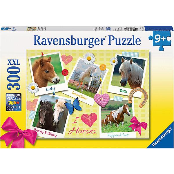 Пазл «Мои любимые лошади» XXL 300 штПазлы классические<br>Характеристики:<br><br>• тип игрушки: пазл;<br>• комплектация: 300 эл;<br>• размер картинки: 49х36 см;<br>• бренд: Ravensburger;<br>• упаковка: картон;<br>• размер: 34х4х23 см;<br>• вес: 548 гр;<br>• возраст: от 6 лет;<br>• материал: картон.<br><br>Пазл «Мои любимые лошади» XXL 300 шт представляет из себя увлекательную игру для детей от шести лет. Набор состоит из 300 деталей, выполненных из высококачественного картона. Из них предлагается собрать изображение пяти небольших картин лошадей самых разных окрасов. На них представлены и взрослые породистые лошадки, и маленькие веселые жеребята. Головоломки Ravensburger всегда отличаются высоким качеством полиграфии, изготовлены из экологичного сырья. Рисунок имеет матовую поверхность без бликов, напечатан на ламинированной бумаге.<br> <br>Пазл сделан из плотного картона, с нанесением красочного рисунка и аккуратной вырубкой деталей с четкими гладкими краями, которые позволяют легко состыковывать элементы пазла между собой. Сборка данного пазла сможет увлечь детей и поспособствовать развитию логического мышления и усидчивости.  Они также развивают образное мышление, наблюдательность и внимательность, а также мелкую моторику и координацию движений рук.<br><br>Пазл «Мои любимые лошади» XXL 300 шт можно купить в нашем интернет-магазине.<br><br>Ширина мм: 340<br>Глубина мм: 40<br>Высота мм: 230<br>Вес г: 548<br>Возраст от месяцев: -2147483648<br>Возраст до месяцев: 2147483647<br>Пол: Женский<br>Возраст: Детский<br>SKU: 7376921