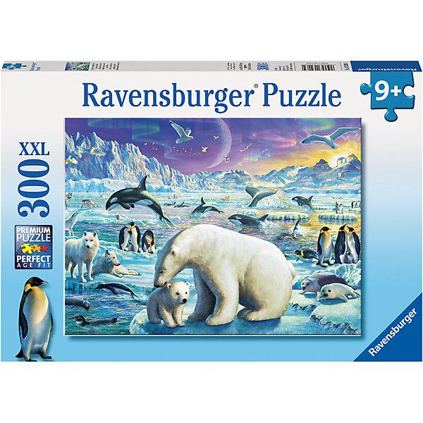 Пазл «Полярные животные» XXL 300 штПазлы классические<br>Характеристики:<br><br>• тип игрушки: пазл;<br>• комплектация: 300 эл;<br>• размер картинки: 49х36 см;<br>• бренд: Ravensburger;<br>• упаковка: картон;<br>• размер: 34х4х23 см;<br>• вес: 548 гр;<br>• возраст: от 6 лет;<br>• материал: картон.<br><br>Пазл «Полярные животные» XXL 300 шт представляет из себя увлекательную игру для детей от шести лет. Набор состоит из 300 деталей, выполненных из высококачественного картона. Из них предлагается собрать изображение белых медведей, королевских пингвинов, касаток и даже волков. Все они на фоне заснеженных гор и огромных льдин. Головоломки Ravensburger всегда отличаются высоким качеством полиграфии, изготовлены из экологичного сырья. Рисунок имеет матовую поверхность без бликов, напечатан на ламинированной бумаге. <br><br>Пазл сделан из плотного картона, с нанесением красочного рисунка и аккуратной вырубкой деталей с четкими гладкими краями, которые позволяют легко состыковывать элементы пазла между собой. Сборка данного пазла сможет увлечь детей и поспособствовать развитию логического мышления и усидчивости.  Они также развивают образное мышление, наблюдательность и внимательность, а также мелкую моторику и координацию движений рук.<br><br>Пазл «Полярные животные» XXL 300 шт можно купить в нашем интернет-магазине.<br><br>Ширина мм: 340<br>Глубина мм: 40<br>Высота мм: 230<br>Вес г: 548<br>Возраст от месяцев: -2147483648<br>Возраст до месяцев: 2147483647<br>Пол: Унисекс<br>Возраст: Детский<br>SKU: 7376925