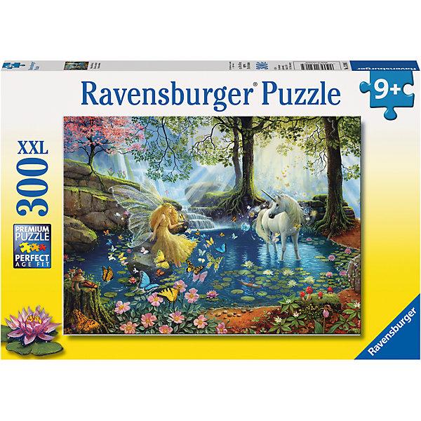 Пазл Мистическая встреча XXL 300 штПазлы до 500 деталей<br>Характеристики:<br><br>• тип игрушки: пазл;<br>• комплектация: 300 эл;<br>• размер картинки: 49х36 см;<br>• бренд: Ravensburger;<br>• упаковка: картон;<br>• размер: 34х4х23 см;<br>• вес: 548 гр;<br>• возраст: от 6 лет;<br>• материал: картон.<br><br>Пазл «Мистическая встреча» XXL 300 шт представляет из себя увлекательную игру для детей от шести лет. Набор состоит из 300 деталей, выполненных из высококачественного картона. Из них предлагается собрать изображение феи в золотом платье и белоснежного единорога, которые встретились на пекрасном водоеме в лунную ночь. Головоломки Ravensburger всегда отличаются высоким качеством полиграфии, изготовлены из экологичного сырья. Рисунок имеет матовую поверхность без бликов, напечатан на ламинированной бумаге. <br><br>Пазл сделан из плотного картона, с нанесением красочного рисунка и аккуратной вырубкой деталей с четкими гладкими краями, которые позволяют легко состыковывать элементы пазла между собой. Сборка данного пазла сможет увлечь детей и поспособствовать развитию логического мышления и усидчивости.  Они также развивают образное мышление, наблюдательность и внимательность, а также мелкую моторику и координацию движений рук.<br><br>Пазл «Мистическая встреча» XXL 300 шт можно купить в нашем интернет-магазине.<br>Ширина мм: 340; Глубина мм: 40; Высота мм: 230; Вес г: 548; Возраст от месяцев: -2147483648; Возраст до месяцев: 2147483647; Пол: Унисекс; Возраст: Детский; SKU: 7376928;