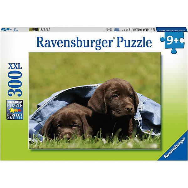 Пазл «Щенки черного лабрадора» XXL 300 штСимвол года<br>Характеристики:<br><br>• тип игрушки: пазл;<br>• комплектация: 300 эл;<br>• размер картинки: 49х36 см;<br>• бренд: Ravensburger;<br>• упаковка: картон;<br>• размер: 34х4х23 см;<br>• вес: 548 гр;<br>• возраст: от 6 лет;<br>• материал: картон.<br><br>Пазл «Щенки черного лабрадора» XXL 300 шт представляет из себя увлекательную игру для детей от шести лет. Набор состоит из 300 деталей, выполненных из высококачественного картона. Из них предлагается собрать изображение двух маленьких щенков лабрадора черного цвета. Они укрыты синим одеялом и лежат на солнечном лугу. Головоломки Ravensburger всегда отличаются высоким качеством полиграфии, изготовлены из экологичного сырья. Рисунок имеет матовую поверхность без бликов, напечатан на ламинированной бумаге. <br><br>Пазл сделан из плотного картона, с нанесением красочного рисунка и аккуратной вырубкой деталей с четкими гладкими краями, которые позволяют легко состыковывать элементы пазла между собой. Сборка данного пазла сможет увлечь детей и поспособствовать развитию логического мышления и усидчивости.  Они также развивают образное мышление, наблюдательность и внимательность, а также мелкую моторику и координацию движений рук.<br><br>Пазл «Щенки черного лабрадора» XXL 300 шт можно купить в нашем интернет-магазине.<br>Ширина мм: 340; Глубина мм: 40; Высота мм: 230; Вес г: 548; Возраст от месяцев: -2147483648; Возраст до месяцев: 2147483647; Пол: Унисекс; Возраст: Детский; SKU: 7376930;