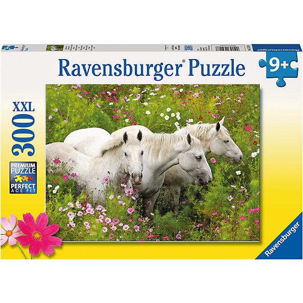 Пазл «Лошади в поле цветов» XXL 300 штПазлы классические<br>Характеристики:<br><br>• тип игрушки: пазл;<br>• комплектация: 300 эл;<br>• размер картинки: 49х36 см;<br>• бренд: Ravensburger;<br>• упаковка: картон;<br>• размер: 34х4х23 см;<br>• вес: 548 гр;<br>• возраст: от 6 лет;<br>• материал: картон.<br><br>Пазл «Лошади в поле цветов» XXL 300 шт представляет из себя увлекательную игру для детей от шести лет. Набор состоит из 300 деталей, выполненных из высококачественного картона. Из них предлагается собрать изображение трех белоснежных лошадей, которые бегут по полю с высокой травой. Головоломки Ravensburger всегда отличаются высоким качеством полиграфии, изготовлены из экологичного сырья. Рисунок имеет матовую поверхность без бликов, напечатан на ламинированной бумаге. <br><br>Пазл сделан из плотного картона, с нанесением красочного рисунка и аккуратной вырубкой деталей с четкими гладкими краями, которые позволяют легко состыковывать элементы пазла между собой. Сборка данного пазла сможет увлечь детей и поспособствовать развитию логического мышления и усидчивости.  Они также развивают образное мышление, наблюдательность и внимательность, а также мелкую моторику и координацию движений рук.<br><br>Пазл «Лошади в поле цветов» XXL 300 шт можно купить в нашем интернет-магазине.<br><br>Ширина мм: 340<br>Глубина мм: 40<br>Высота мм: 230<br>Вес г: 548<br>Возраст от месяцев: -2147483648<br>Возраст до месяцев: 2147483647<br>Пол: Унисекс<br>Возраст: Детский<br>SKU: 7376932