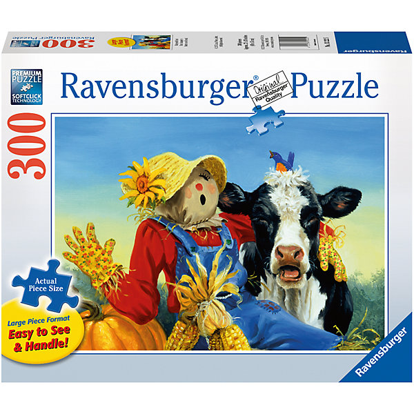Пазл «Обитатели фермы» XXL 300 штПазлы классические<br>Характеристики:<br><br>• тип игрушки: пазл;<br>• комплектация: 300 эл;<br>• размер картинки: 68х50 см;<br>• бренд: Ravensburger;<br>• упаковка: картон;<br>• размер: 34х4х23 см;<br>• вес: 516 гр;<br>• возраст: от 6 лет;<br>• материал: картон.<br><br>Пазл «Обитатели фермы» XXL 300 шт представляет из себя увлекательную игру для детей от шести лет. Набор состоит из 300 деталей, выполненных из высококачественного картона. Из них предлагается собрать изображение веселого соломенного чучела и коровки черно-белого окраса. Веселые обитатели фермы изображены на фоне пшеничного поля. Головоломки Ravensburger всегда отличаются высоким качеством полиграфии, изготовлены из экологичного сырья. Рисунок имеет матовую поверхность без бликов, напечатан на ламинированной бумаге. <br><br>Пазл сделан из плотного картона, с нанесением красочного рисунка и аккуратной вырубкой деталей с четкими гладкими краями, которые позволяют легко состыковывать элементы пазла между собой. Сборка данного пазла сможет увлечь детей и поспособствовать развитию логического мышления и усидчивости.  Они также развивают образное мышление, наблюдательность и внимательность, а также мелкую моторику и координацию движений рук.<br><br>Пазл «Обитатели фермы» XXL 300 шт можно купить в нашем интернет-магазине.<br><br>Ширина мм: 340<br>Глубина мм: 40<br>Высота мм: 230<br>Вес г: 516<br>Возраст от месяцев: -2147483648<br>Возраст до месяцев: 2147483647<br>Пол: Унисекс<br>Возраст: Детский<br>SKU: 7376934