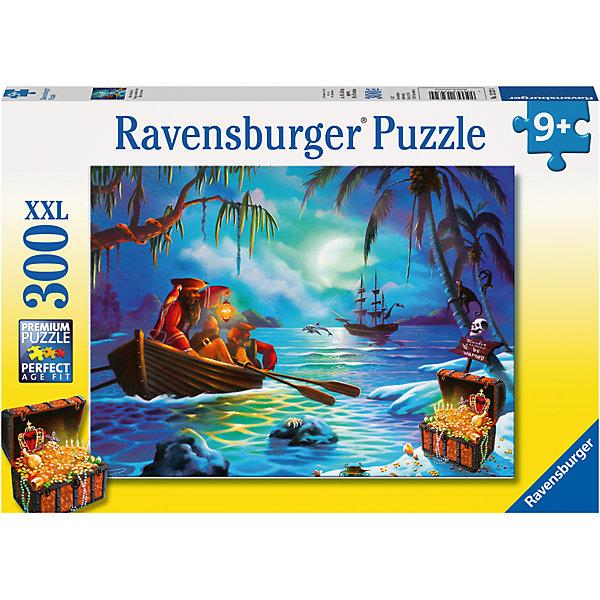 Пазл «В поисках сокровищ» XXL 300 штПазлы до 500 деталей<br>Характеристики:<br><br>• тип игрушки: пазл;<br>• комплектация: 300 эл;<br>• размер картинки: 49х36 см;<br>• бренд: Ravensburger;<br>• упаковка: картон;<br>• размер: 34х4х23 см;<br>• вес: 548 гр;<br>• возраст: от 6 лет;<br>• материал: картон.<br><br>Пазл «В поисках сокровищ» XXL 300 шт представляет из себя увлекательную игру для детей от шести лет. Набор состоит из 300 деталей, выполненных из высококачественного картона. Из них предлагается собрать изображение маленькой и тихой лагуны при лунном свете. На берегу маленькая пиратская шхуна с несколькими разбойниками и, конечно же, сундук с сокровищами. Головоломки Ravensburger всегда отличаются высоким качеством полиграфии, изготовлены из экологичного сырья. Рисунок имеет матовую поверхность без бликов, напечатан на ламинированной бумаге. <br><br>Пазл сделан из плотного картона, с нанесением красочного рисунка и аккуратной вырубкой деталей с четкими гладкими краями, которые позволяют легко состыковывать элементы пазла между собой. Сборка данного пазла сможет увлечь детей и поспособствовать развитию логического мышления и усидчивости.  Они также развивают образное мышление, наблюдательность и внимательность, а также мелкую моторику и координацию движений рук.<br><br>Пазл «В поисках сокровищ» XXL 300 шт можно купить в нашем интернет-магазине.<br>Ширина мм: 340; Глубина мм: 40; Высота мм: 230; Вес г: 548; Возраст от месяцев: -2147483648; Возраст до месяцев: 2147483647; Пол: Унисекс; Возраст: Детский; SKU: 7376938;
