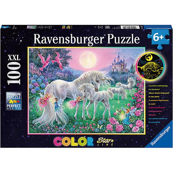 Пазл светящийся «Единороги в лунном свете» XXL 100 штПазлы для малышей<br>Характеристики:<br><br>• тип игрушки: пазл;<br>• комплектация: 100 эл;<br>• размер картинки: 49х36 см;<br>• бренд: Ravensburger;<br>• упаковка: картон;<br>• размер: 34х4х23 см;<br>• вес: 597 гр;<br>• возраст: от 6 лет;<br>• материал: картон.<br><br>Пазл светящийся «Единороги в лунном свете» XXL 100 шт представляет из себя увлекательную игру для детей от шести лет. Набор состоит из 100 деталей, выполненных из высококачественного картона. Из них предлагается собрать изображение единорогов, которые собрались у водопоя и волшебный лес на закате вокруг них. Кроме того, собранный пазл светится в темноте мягким приятным светом. <br><br>Головоломки Ravensburger всегда отличаются высоким качеством полиграфии, изготовлены из экологичного сырья. Рисунок имеет матовую поверхность без бликов, напечатан на ламинированной бумаге. Пазл сделан из плотного картона, с нанесением красочного рисунка и аккуратной вырубкой деталей с четкими гладкими краями, которые позволяют легко состыковывать элементы пазла между собой. <br>Сборка данного пазла сможет увлечь детей и поспособствовать развитию логического мышления и усидчивости.  Они также развивают образное мышление, наблюдательность и внимательность, а также мелкую моторику и координацию движений рук.<br><br>Пазл светящийся «Единороги в лунном свете» XXL 100 шт можно купить в нашем интернет-магазине.<br><br>Ширина мм: 340<br>Глубина мм: 40<br>Высота мм: 230<br>Вес г: 597<br>Возраст от месяцев: -2147483648<br>Возраст до месяцев: 2147483647<br>Пол: Унисекс<br>Возраст: Детский<br>SKU: 7376940
