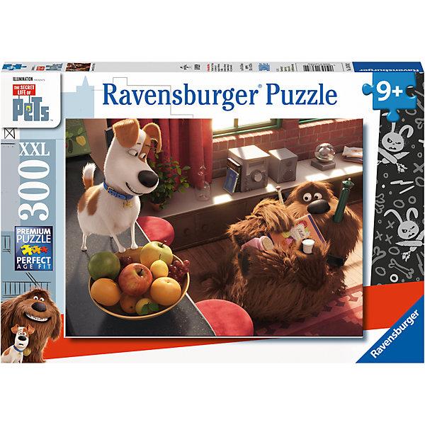 Пазл «Тайная жизнь домашних животных. Макс и Дюк» XXL 300 штСимвол года<br>Характеристики:<br><br>• тип игрушки: пазл;<br>• комплектация: 300 эл;<br>• размер картинки: 49х36 см;<br>• бренд: Ravensburger;<br>• упаковка: картон;<br>• размер: 34х4х23 см;<br>• вес: 548 гр;<br>• возраст: от 6 лет;<br>• материал: картон.<br><br>Пазл «Тайная жизнь домашних животных. Макс и Дюк» XXL 300 шт представляет из себя увлекательную игру для детей от шести лет. Набор состоит из 300 деталей, выполненных из высококачественного картона. Из них предлагается собрать изображение Макс и Дюка – знаменитых героев мультфильма под названием «Тайная жизни домашних животных».  <br>Головоломки Ravensburger всегда отличаются высоким качеством полиграфии, изготовлены из экологичного сырья. Рисунок имеет матовую поверхность без бликов, напечатан на ламинированной бумаге. Пазл сделан из плотного картона, с нанесением красочного рисунка и аккуратной вырубкой деталей с четкими гладкими краями, которые позволяют легко состыковывать элементы пазла между собой. <br><br>Сборка данного пазла сможет увлечь детей и поспособствовать развитию логического мышления и усидчивости.  Они также развивают образное мышление, наблюдательность и внимательность, а также мелкую моторику и координацию движений рук.<br><br>Пазл «Тайная жизнь домашних животных. Макс и Дюк» XXL 300 шт можно купить в нашем интернет-магазине.<br>Ширина мм: 340; Глубина мм: 40; Высота мм: 230; Вес г: 548; Возраст от месяцев: -2147483648; Возраст до месяцев: 2147483647; Пол: Унисекс; Возраст: Детский; SKU: 7376942;