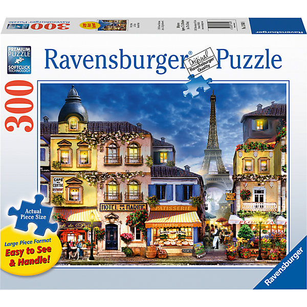 Пазл «Прекрасный Париж»  300 штПазлы классические<br>Характеристики:<br><br>• тип игрушки: пазл;<br>• комплектация: 300 эл;<br>• размер картинки: 68х50 см;<br>• бренд: Ravensburger;<br>• упаковка: картон;<br>• размер: 34х6х23 см;<br>• вес: 894 гр;<br>• возраст: от 6 лет;<br>• материал: картон.<br><br>Пазл «Прекрасный Париж» 300 элемента представляет из себя увлекательную игру для детей от шести лет. Набор состоит из 300 деталей, выполненных из высококачественного картона. Из них предлагается собрать изображение вечернего Парижа в свете огней. Тут и маленькая уютная улочка, и красивые парижанки, и, конечно же, символ города – Эйфелевая башня вдалеке.        <br>Головоломки Ravensburger всегда отличаются высоким качеством полиграфии, изготовлены из экологичного сырья. Рисунок имеет матовую поверхность без бликов, напечатан на ламинированной бумаге. Пазл сделан из плотного картона, с нанесением красочного рисунка и аккуратной вырубкой деталей с четкими гладкими краями, которые позволяют легко состыковывать элементы пазла между собой. <br><br>Сборка данного пазла сможет увлечь детей и поспособствовать развитию логического мышления и усидчивости.  Они также развивают образное мышление, наблюдательность и внимательность, а также мелкую моторику и координацию движений рук.<br><br>Пазл «Прекрасный Париж» 300 элемента можно купить в нашем интернет-магазине.<br><br>Ширина мм: 340<br>Глубина мм: 60<br>Высота мм: 230<br>Вес г: 894<br>Возраст от месяцев: -2147483648<br>Возраст до месяцев: 2147483647<br>Пол: Унисекс<br>Возраст: Детский<br>SKU: 7376954