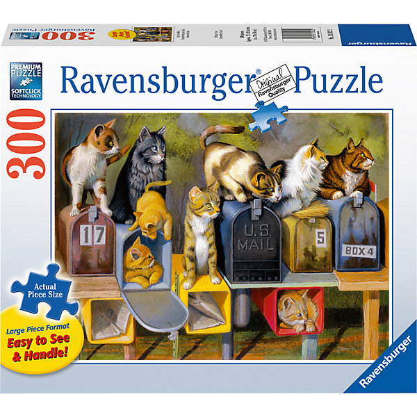 Пазл «Почтовые коты»  300 штПазлы до 500 деталей<br>Характеристики:<br><br>• тип игрушки: пазл;<br>• комплектация: 300 эл;<br>• размер картинки: 68х50 см;<br>• бренд: Ravensburger;<br>• упаковка: картон;<br>• размер: 34х6х23 см;<br>• вес: 899 гр;<br>• возраст: от 6 лет;<br>• материал: картон.<br><br>Пазл «Почтовые коты» 300 элемента представляет из себя увлекательную игру для детей от шести лет. Набор состоит из 300 деталей, выполненных из высококачественного картона. Из них предлагается собрать изображение котов всех окрасов и пород. И все они сидят на или в почтовых ящиках, словно ждут писем.         <br>Головоломки Ravensburger всегда отличаются высоким качеством полиграфии, изготовлены из экологичного сырья. Рисунок имеет матовую поверхность без бликов, напечатан на ламинированной бумаге. Пазл сделан из плотного картона, с нанесением красочного рисунка и аккуратной вырубкой деталей с четкими гладкими краями, которые позволяют легко состыковывать элементы пазла между собой. <br>Сборка данного пазла сможет увлечь детей и поспособствовать развитию логического мышления и усидчивости.  Они также развивают образное мышление, наблюдательность и внимательность, а также мелкую моторику и координацию движений рук.<br>Пазл «Почтовые коты» 300 элемента можно купить в нашем интернет-магазине.<br>Ширина мм: 340; Глубина мм: 60; Высота мм: 230; Вес г: 899; Возраст от месяцев: -2147483648; Возраст до месяцев: 2147483647; Пол: Унисекс; Возраст: Детский; SKU: 7376955;